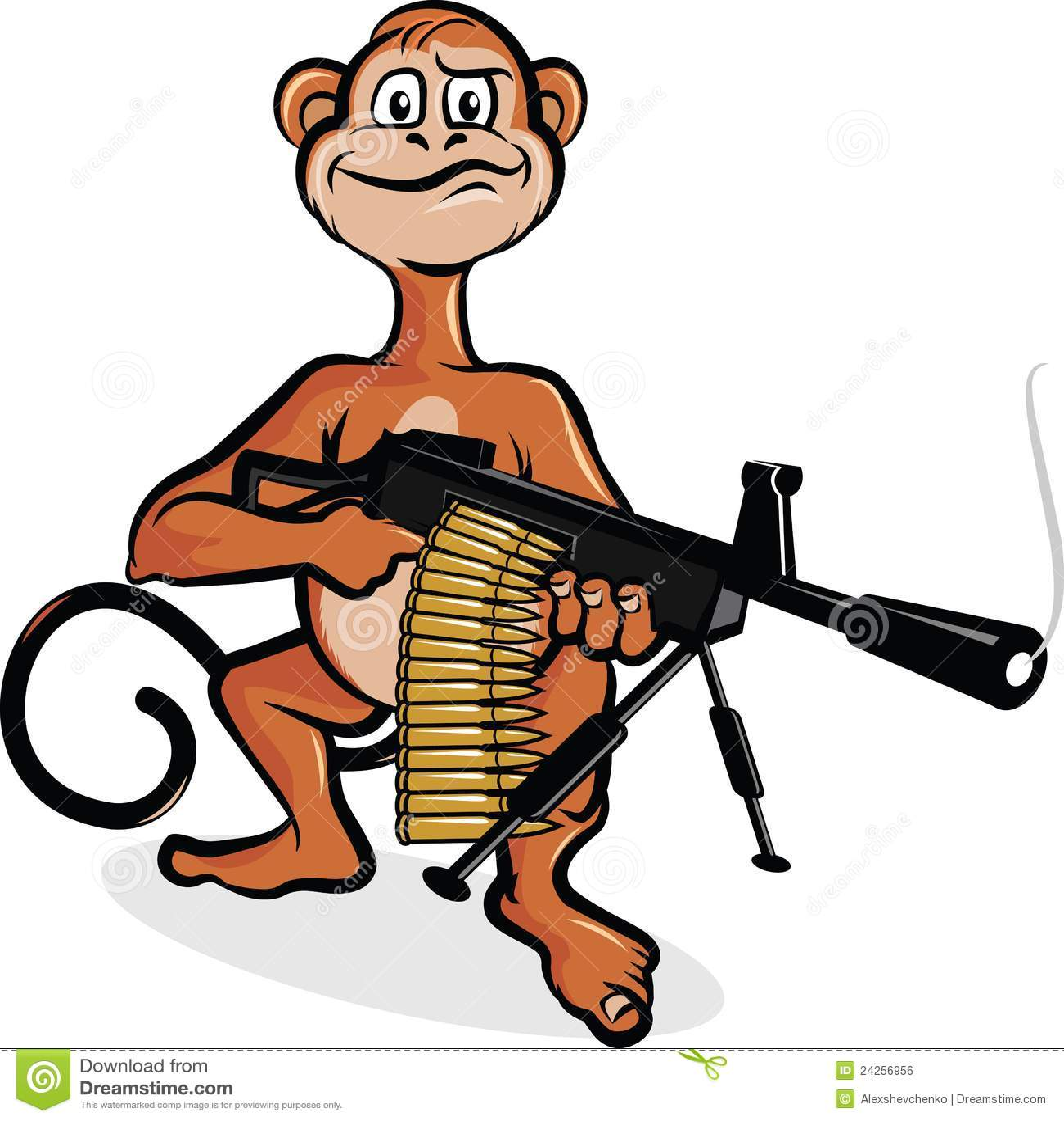 monkey with machine gun