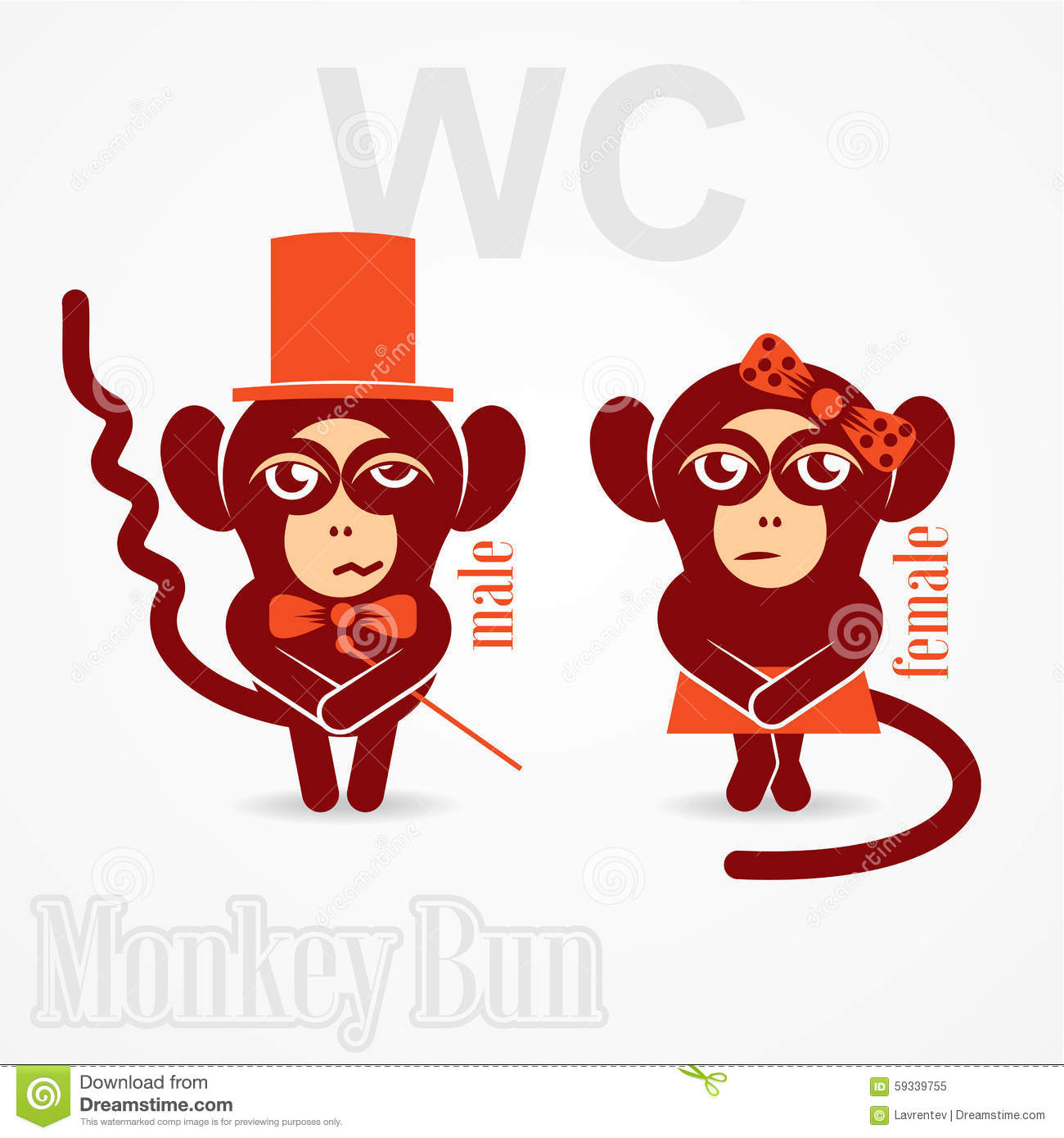 Monkey male and female sign toilet stock vector image Bathroom in chinese characters