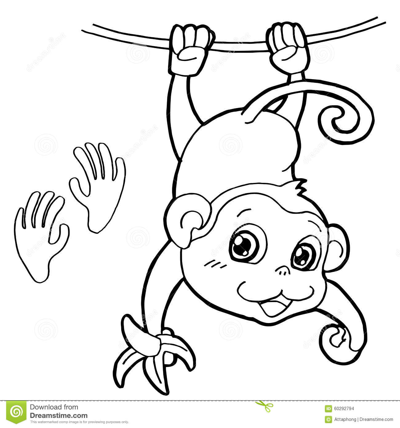 Monkey With Paw Print Coloring Page Vector Stock Vector