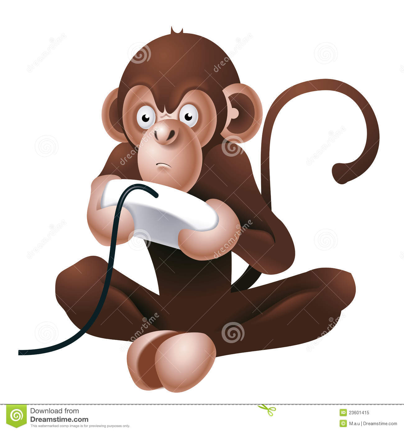 Illustration of funny monkey playing with control for computer or ...