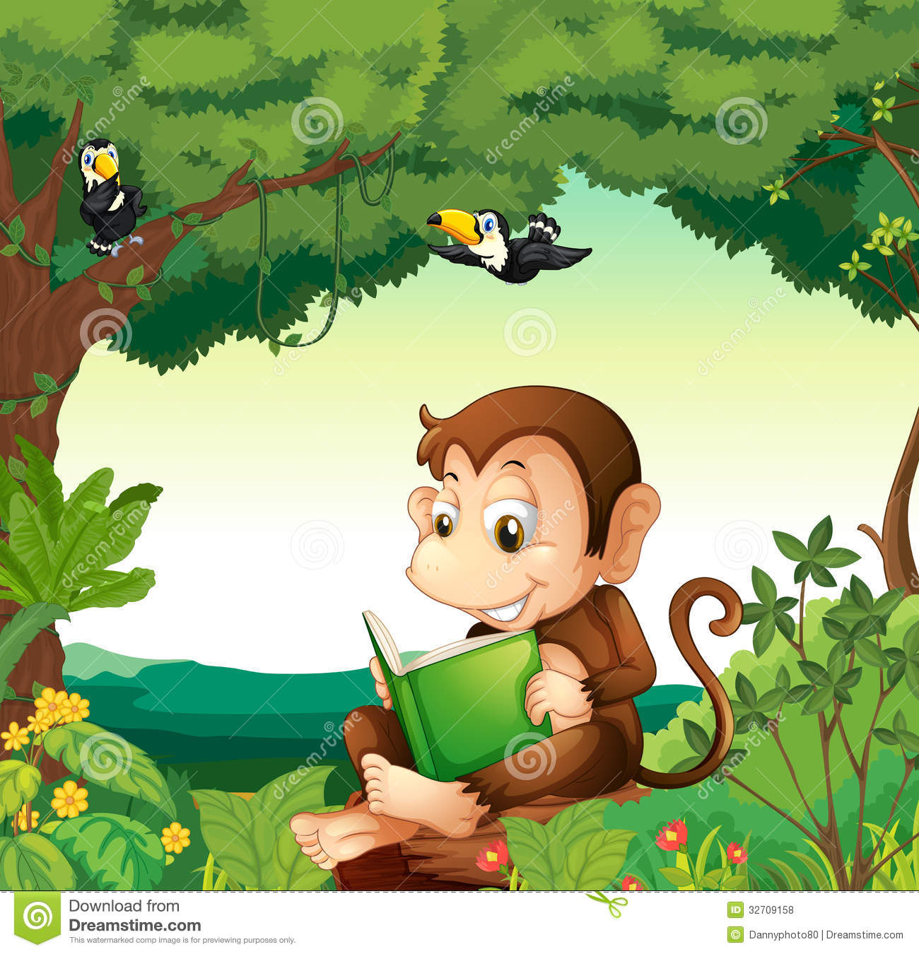monkey reading book forest illustration 32709158