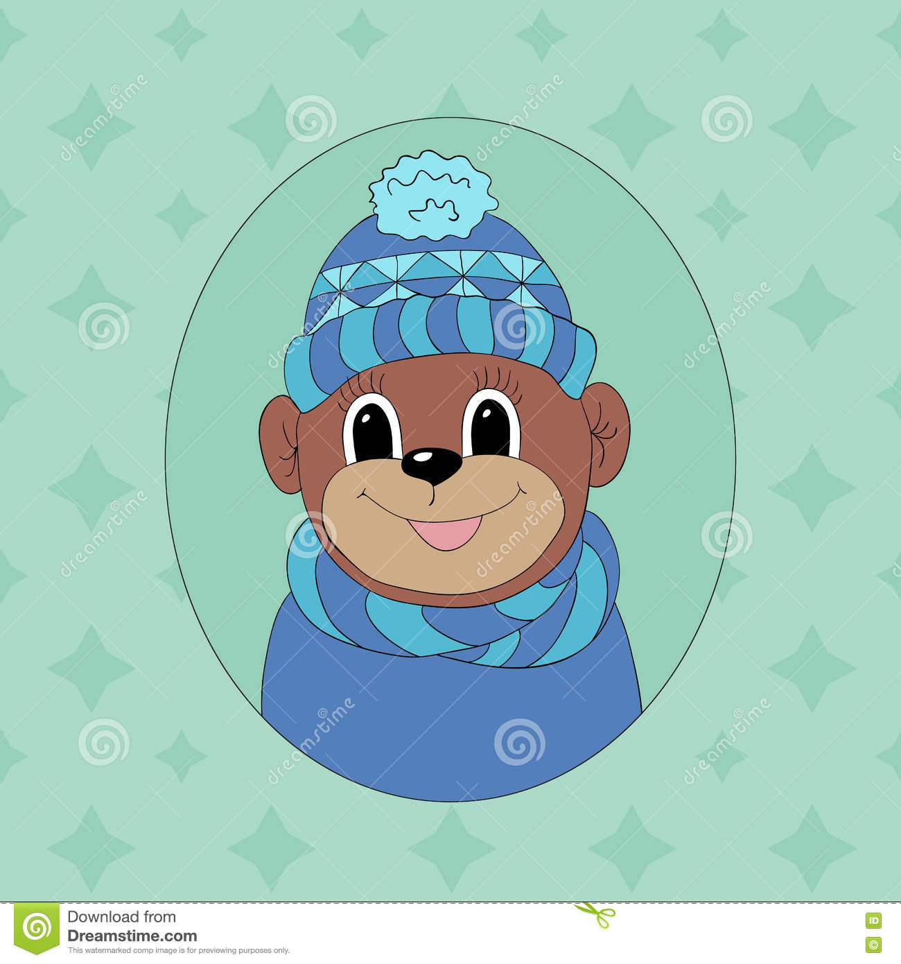 Monkey In A Scarf Print For Childrens Books Stock Vector
