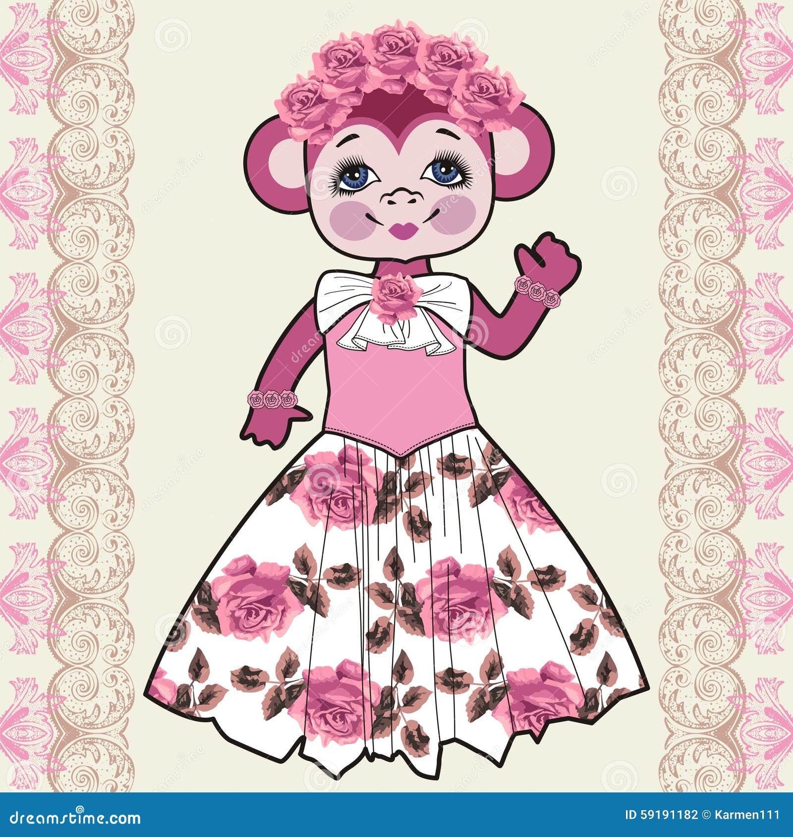 Monkey Shabby Chic, Flowers, Roses. Chinese Zodiac. 2016 ...