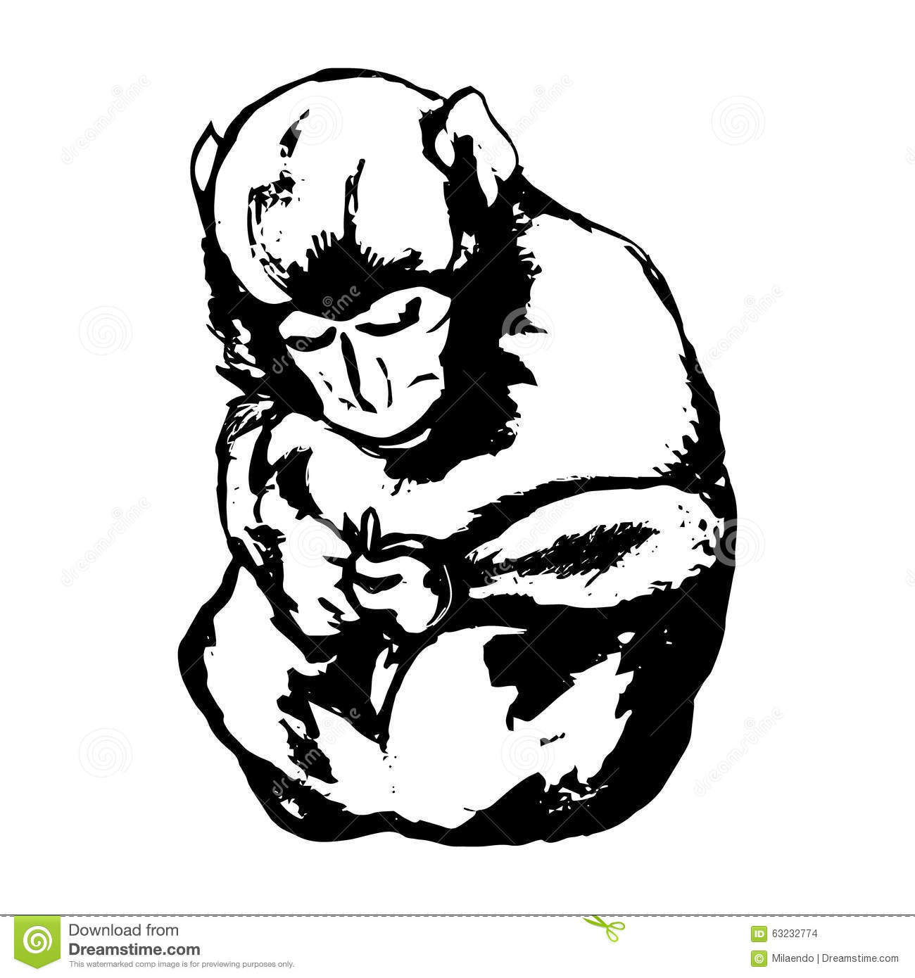 hand drawn sitting monkey sketch style vector stock vector