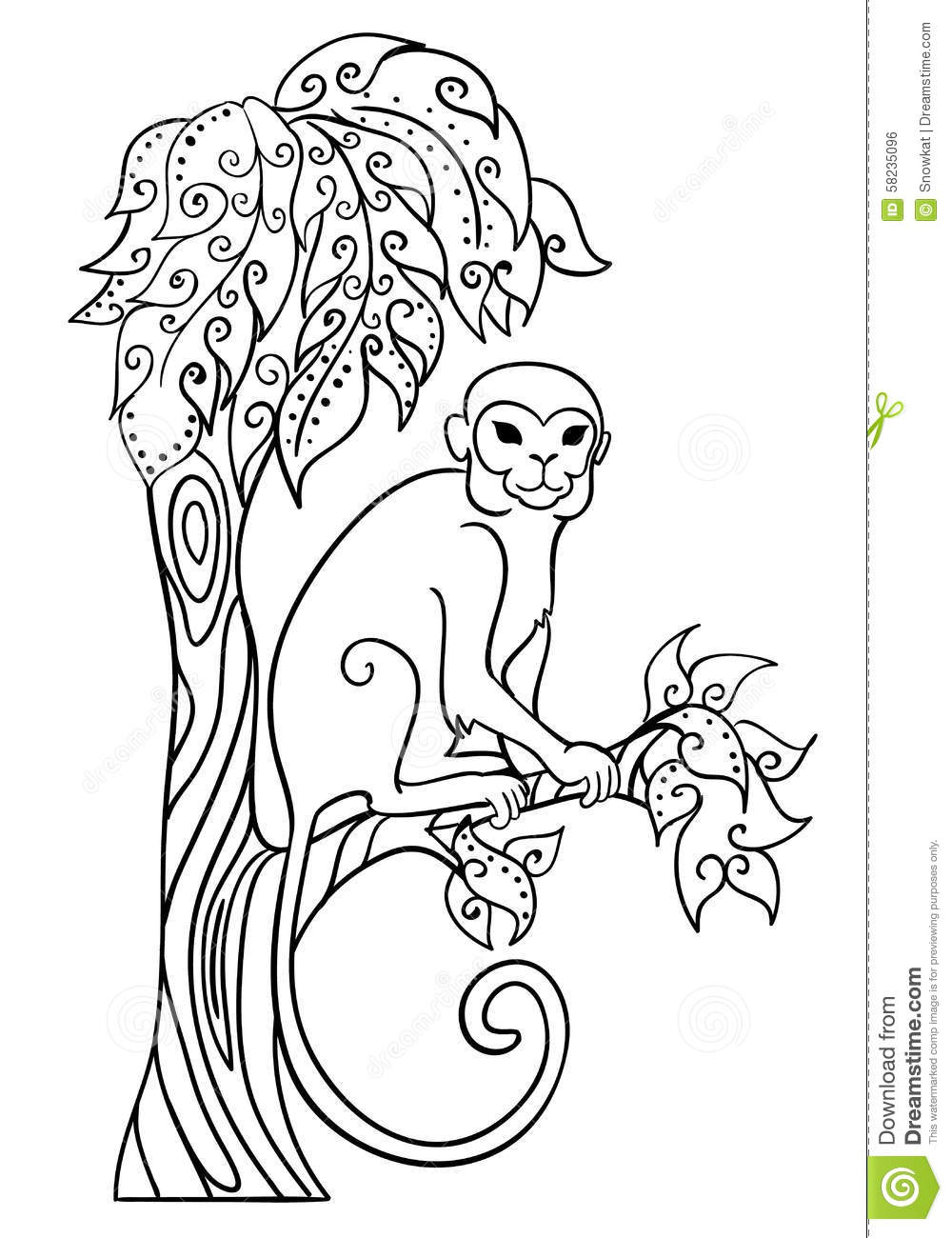 Monkey sitting on a tree. stock vector. Illustration of contour ... for Line Drawing Monkey  75tgx