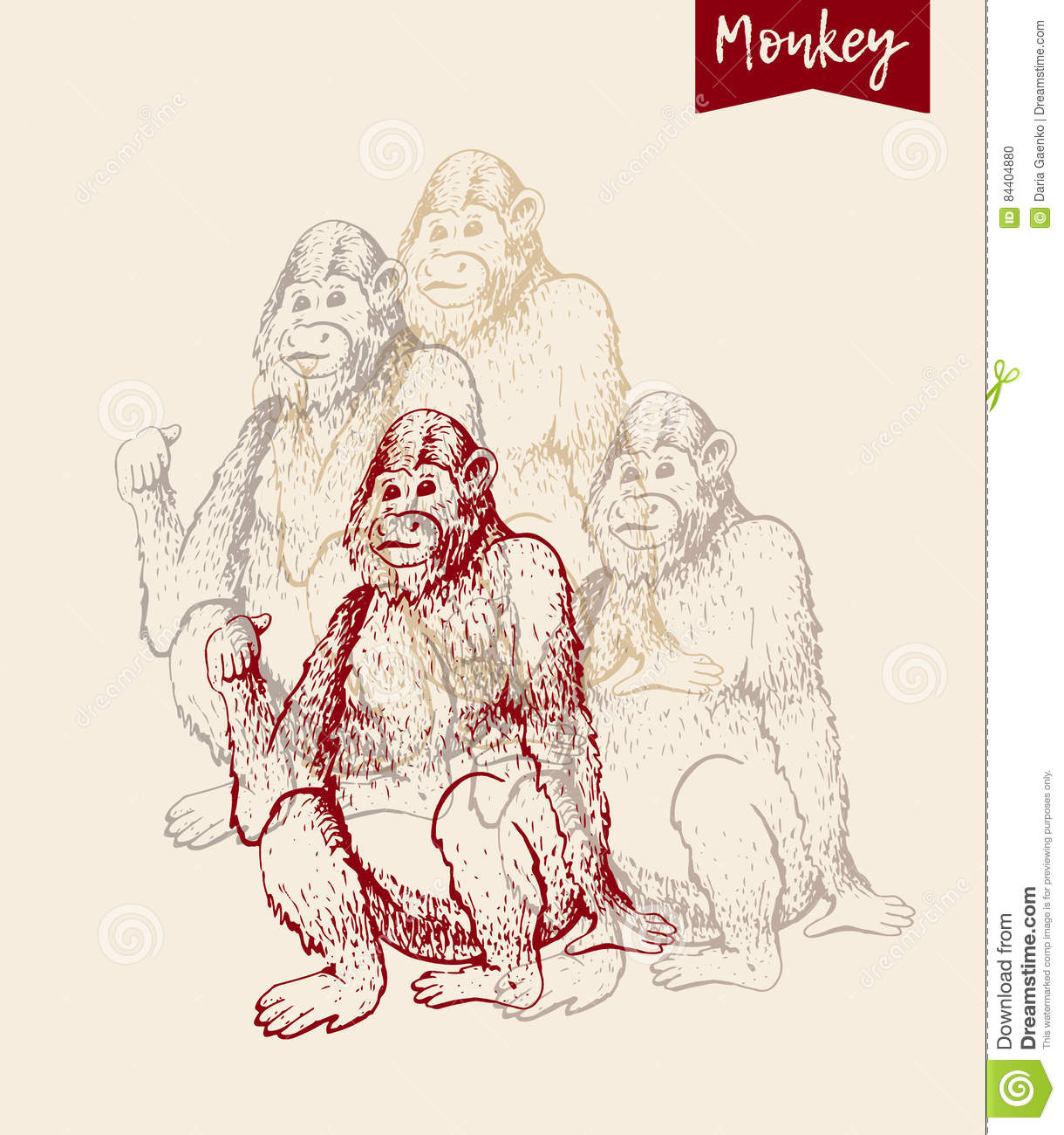 Hand drawn sketch of young orangutan smile monkey is sitting on its and finger is pointing back goodbye 2016 vintage engraving style