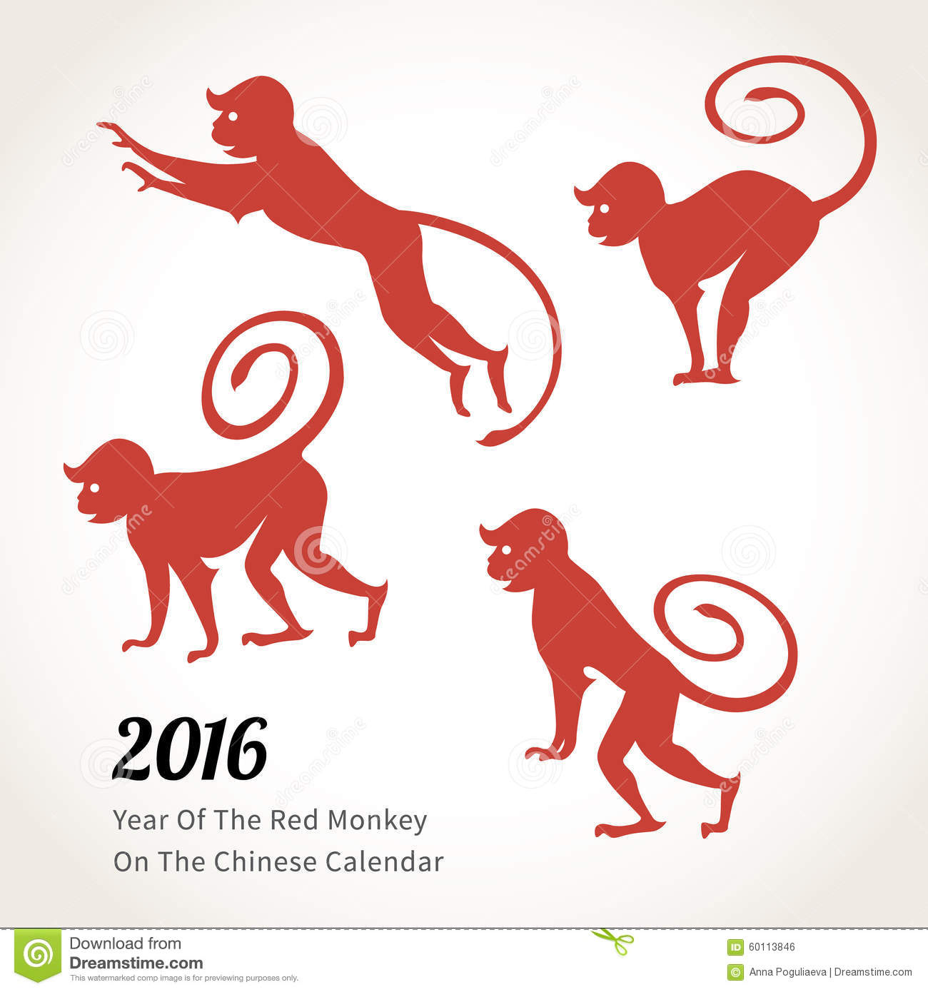Chinese Calendar Illustration : Monkey symbol of on the chinese calendar stock