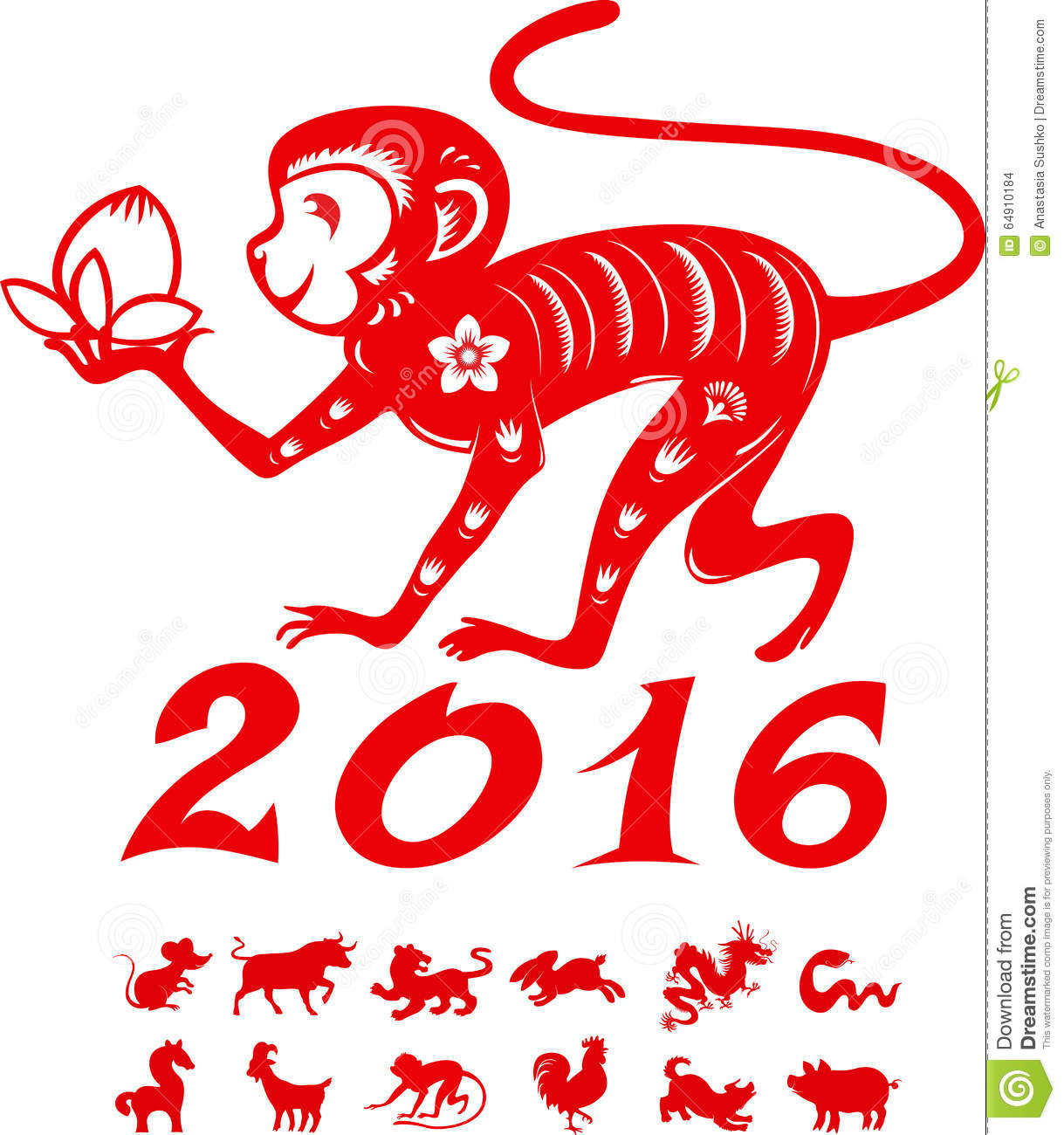 Monkey With Symbols Chinese Year Stock Vector Illustration Of