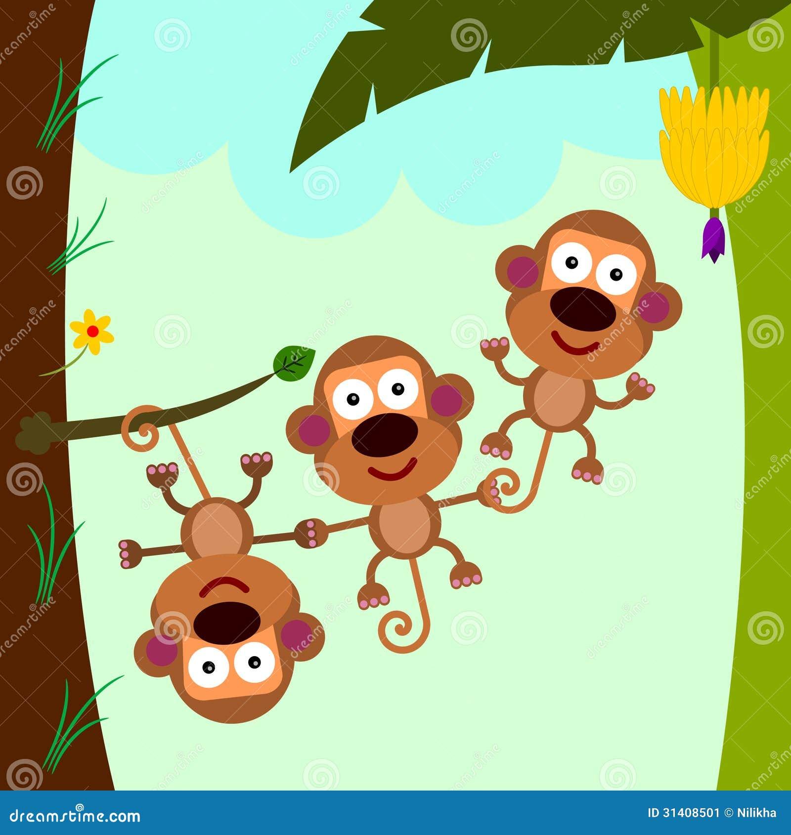 Monkey Teamwork Stock Illustration Illustration Of Tree