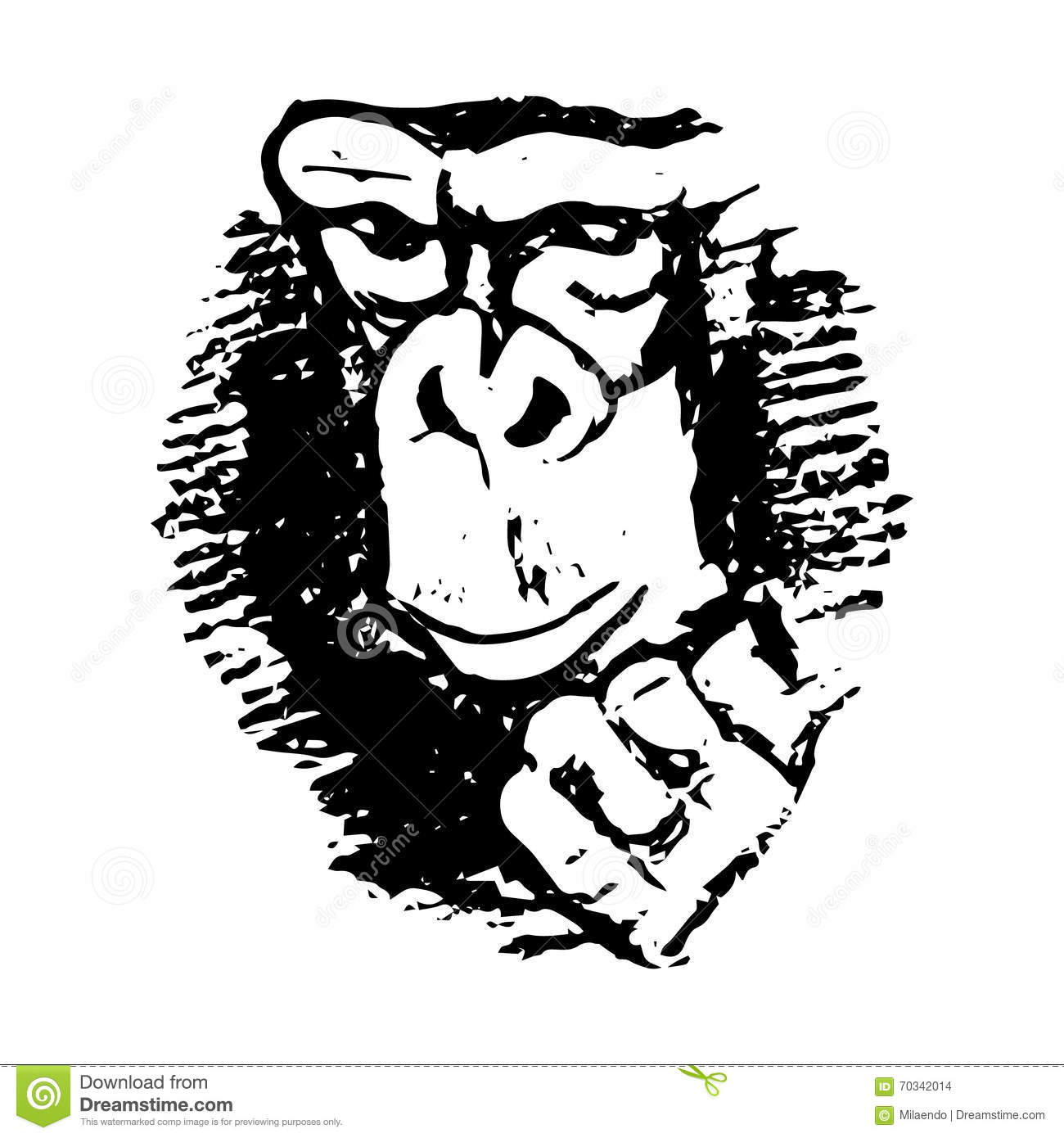 Gorilla Face Line Drawing : Gorilla portrait hand line drawing vector illustration