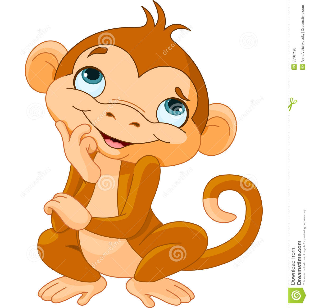 Monkey Thinking Royalty Free Stock Image - Image: 35167196