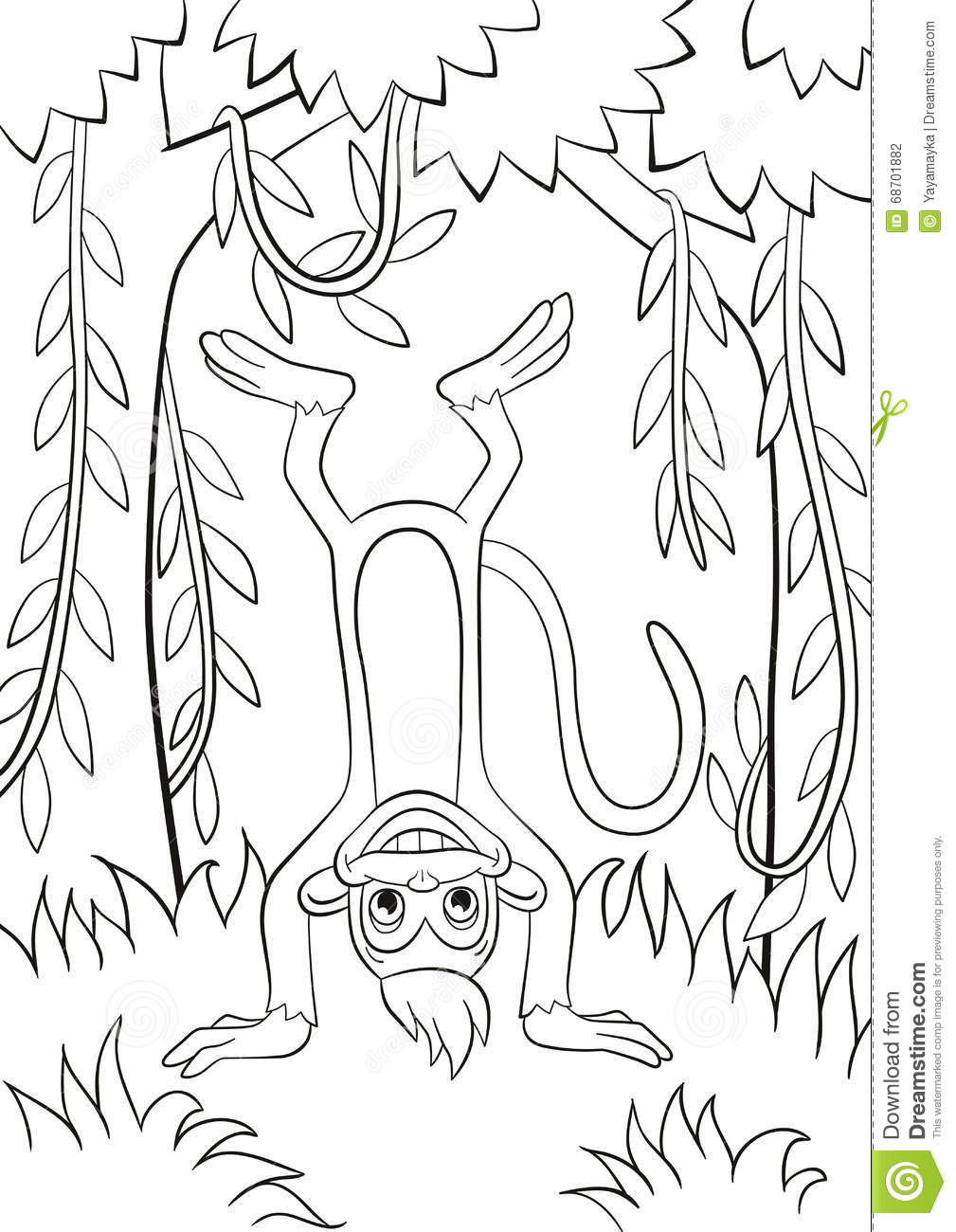 the monkey is upside down in the forest stock vector image 68701882