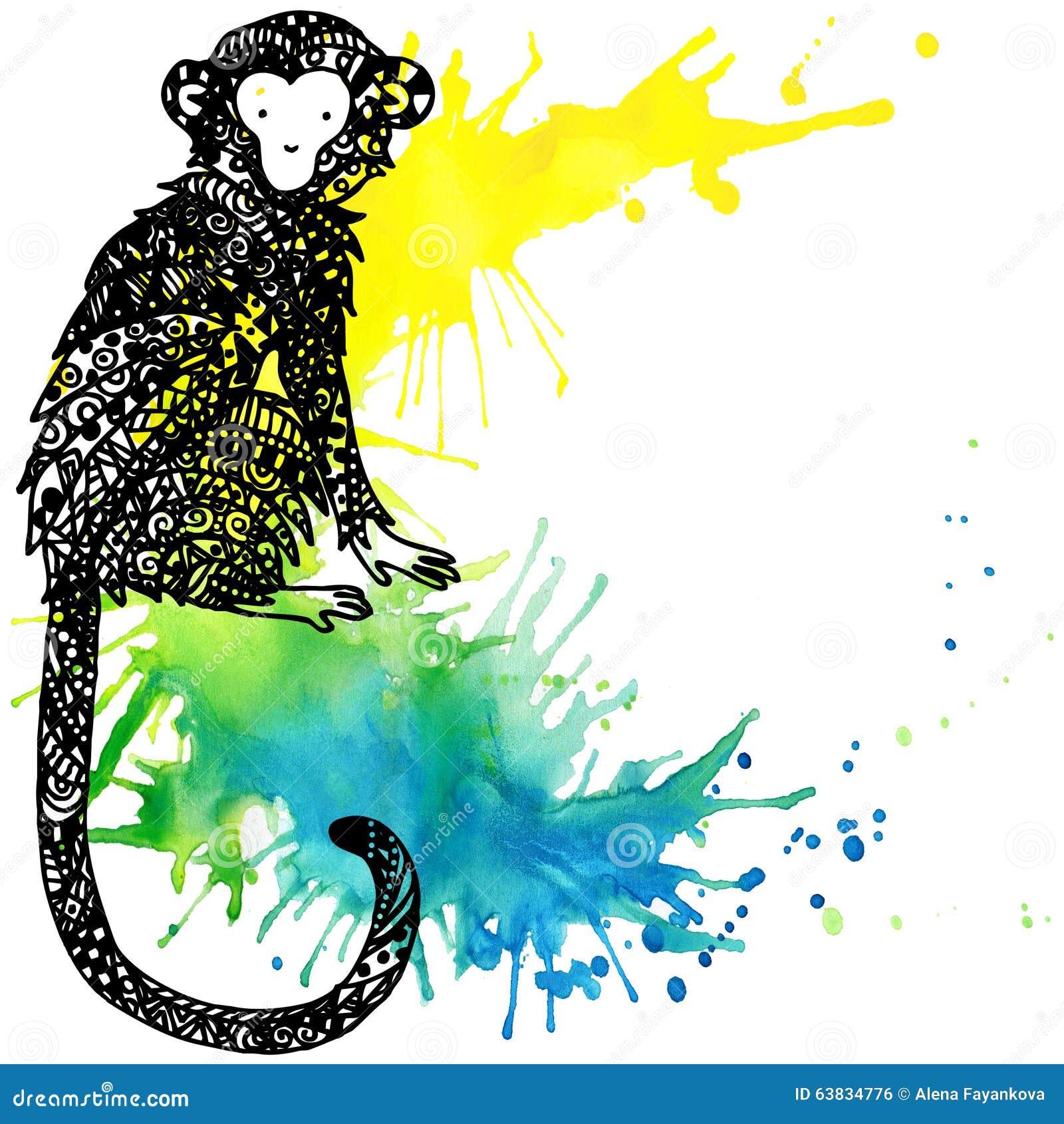 Monkey Year. Monkey Graphics. Watercolor Firework Texture ...
