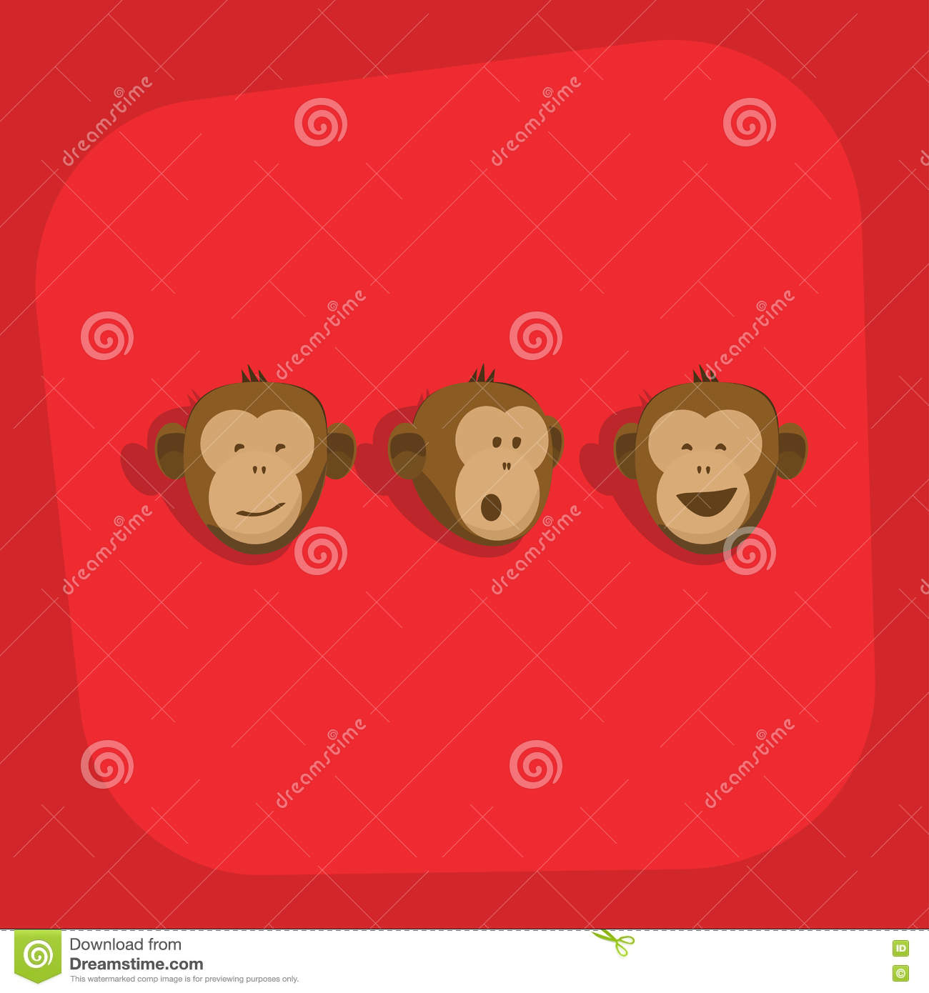 monkeys faces smile emotions vector stock vector illustration of