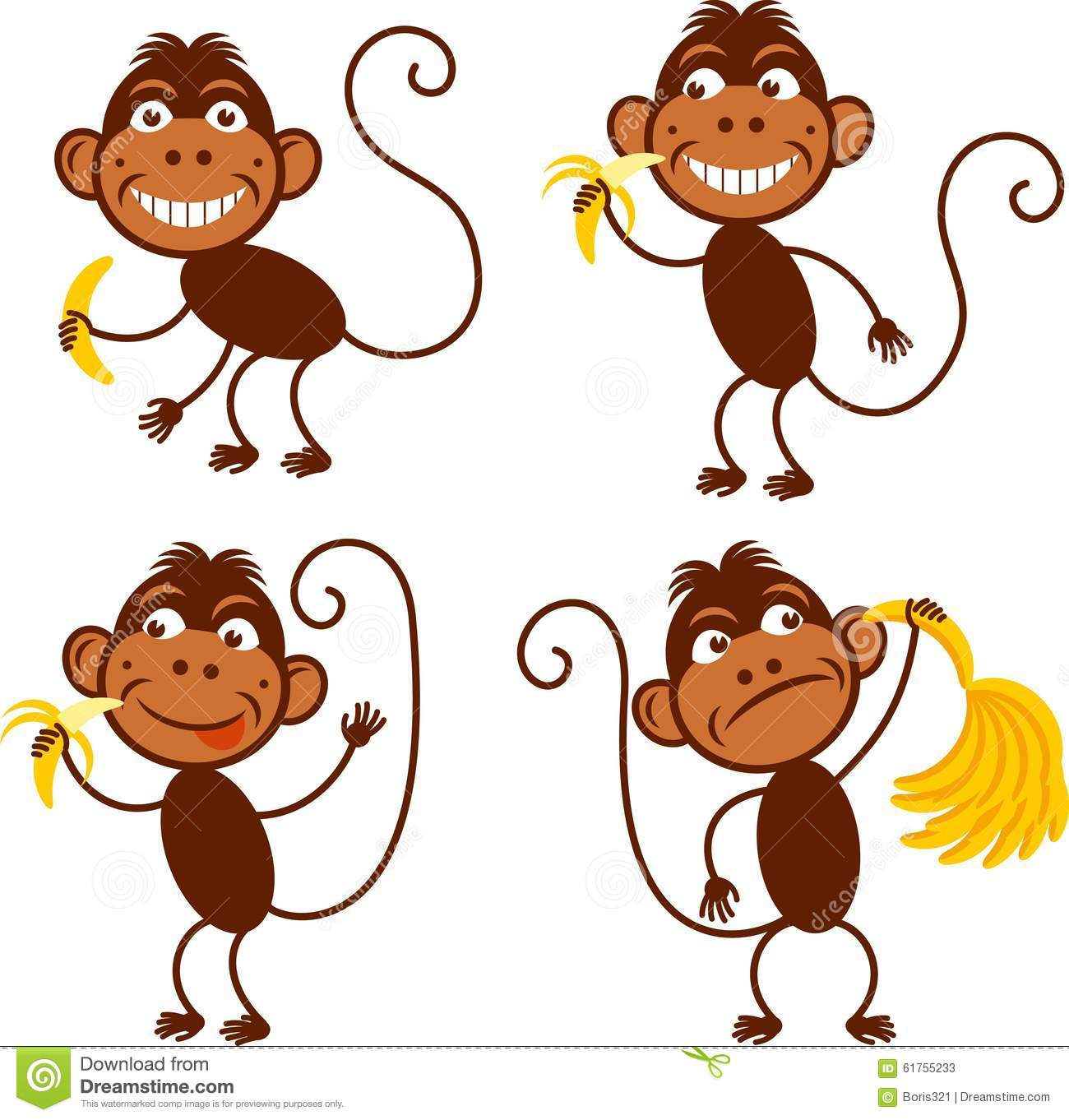 4 Monkeys Simple Stock Vector Image 61755233