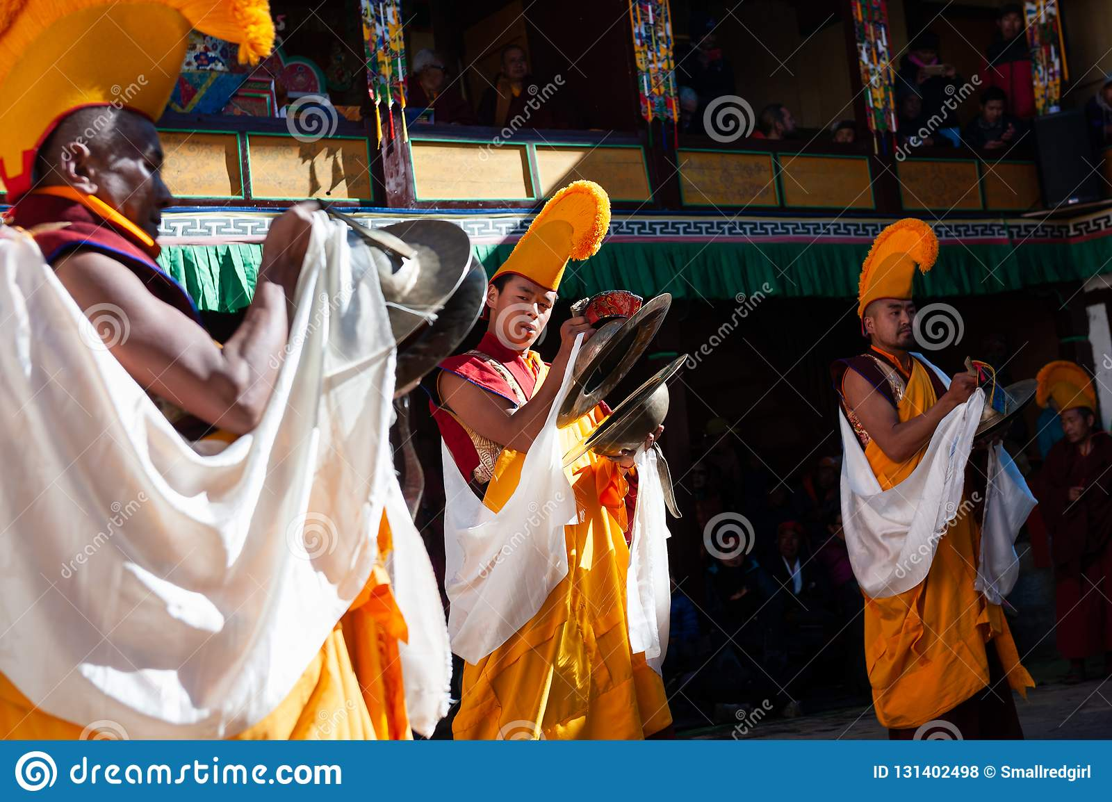 The monks perform religious buddhistic dance during the Mani Rimdu festival in Tengboche Monastery