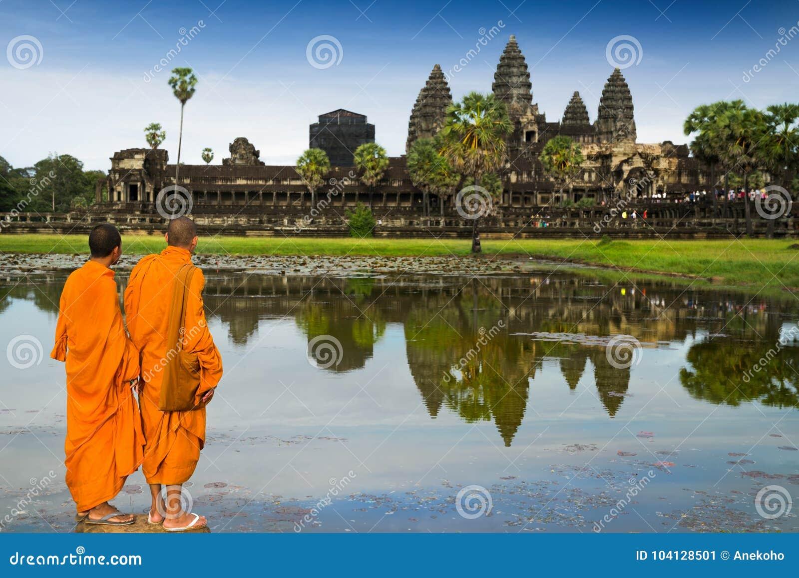 Monniken in boeddhisme in Angkor wat