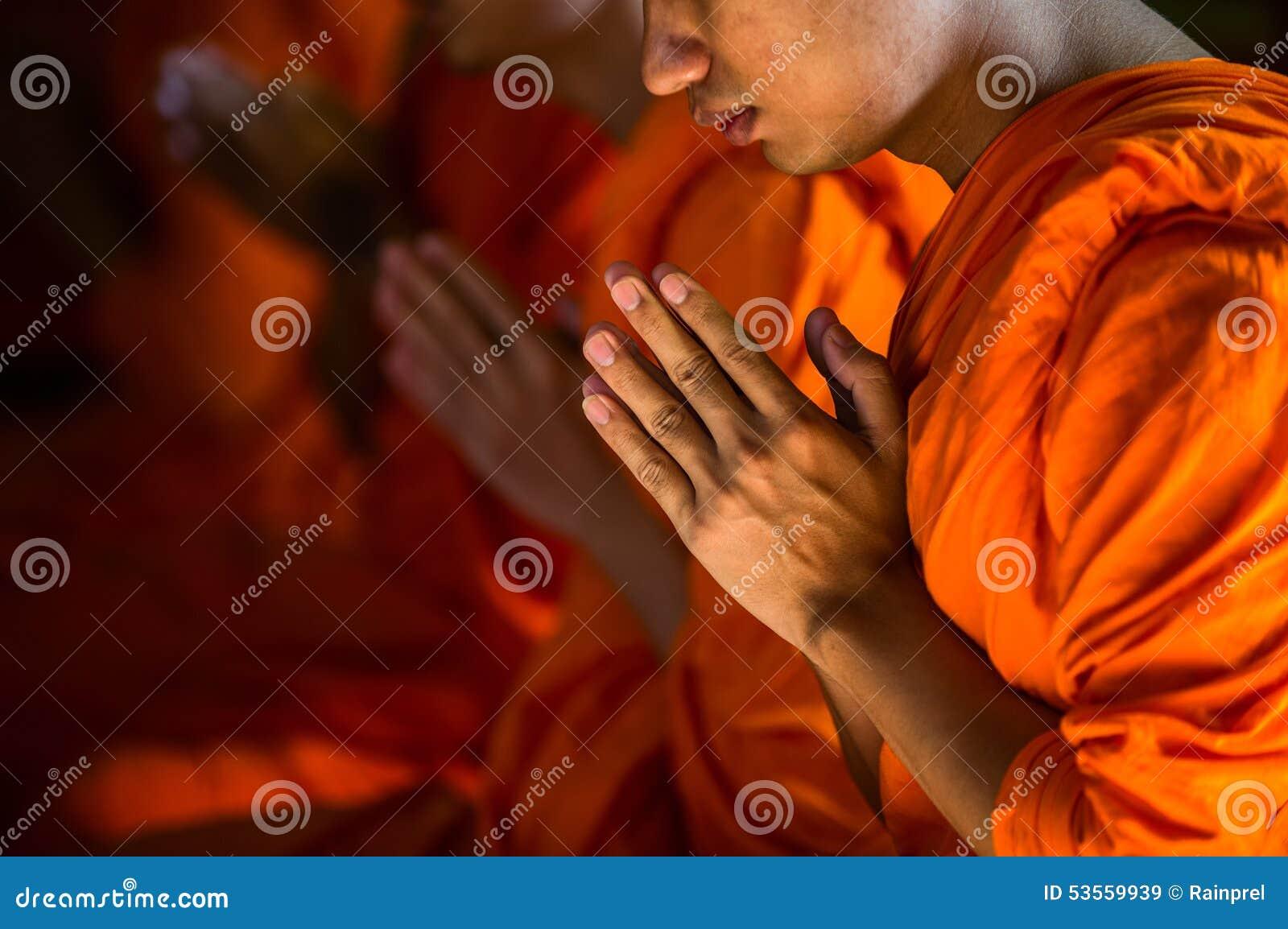 Monniken die bij de Marmeren Tempel in Bangkok, Thailand bidden