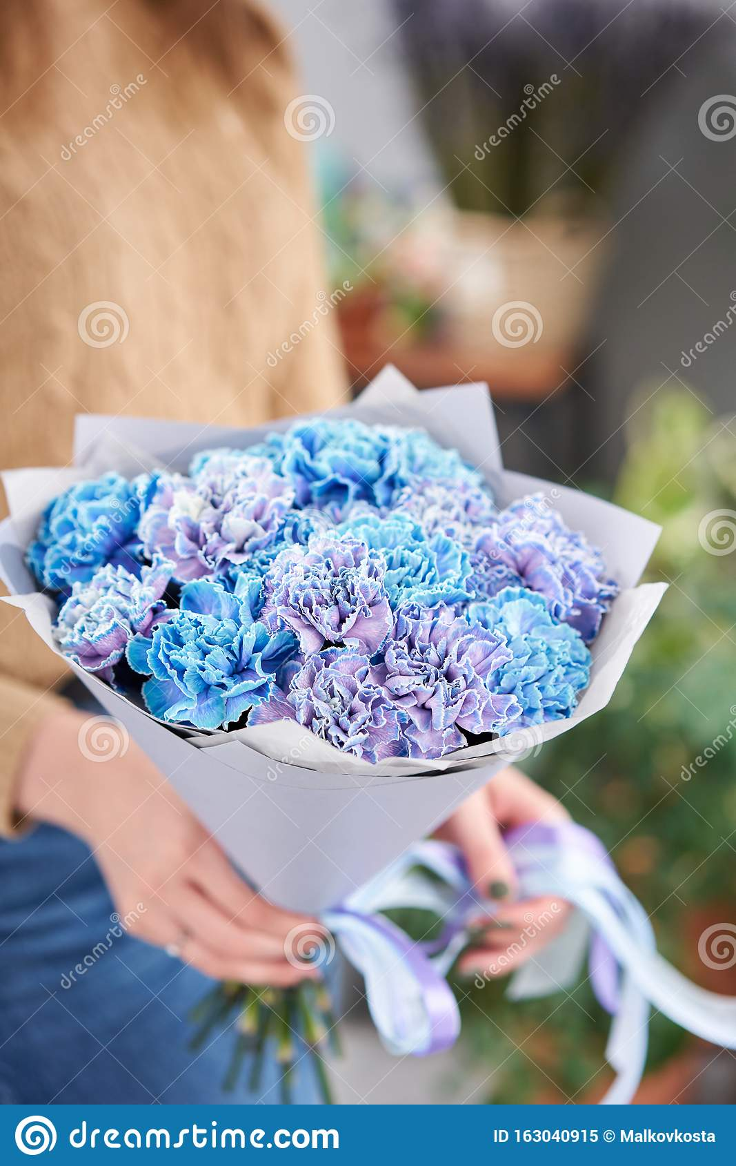 Mono Bouquet Of Blue Carnations In Woman Hand Unusual Flowers Dianthus Spring Flower Pattern Stock Image Image Of Plant Leaf 163040915