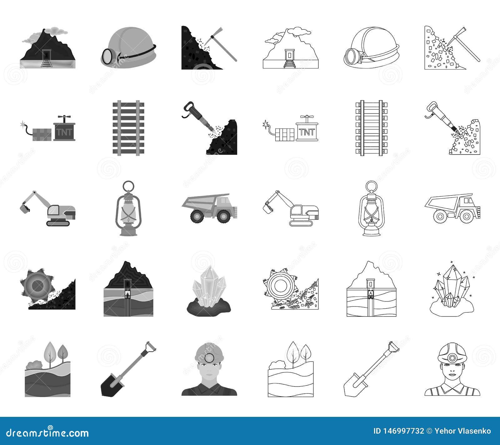Mono bryta bransch, översiktssymboler i den fastställda samlingen för design Reng?ringsduk f?r materiel f?r utrustning- och hj?lp