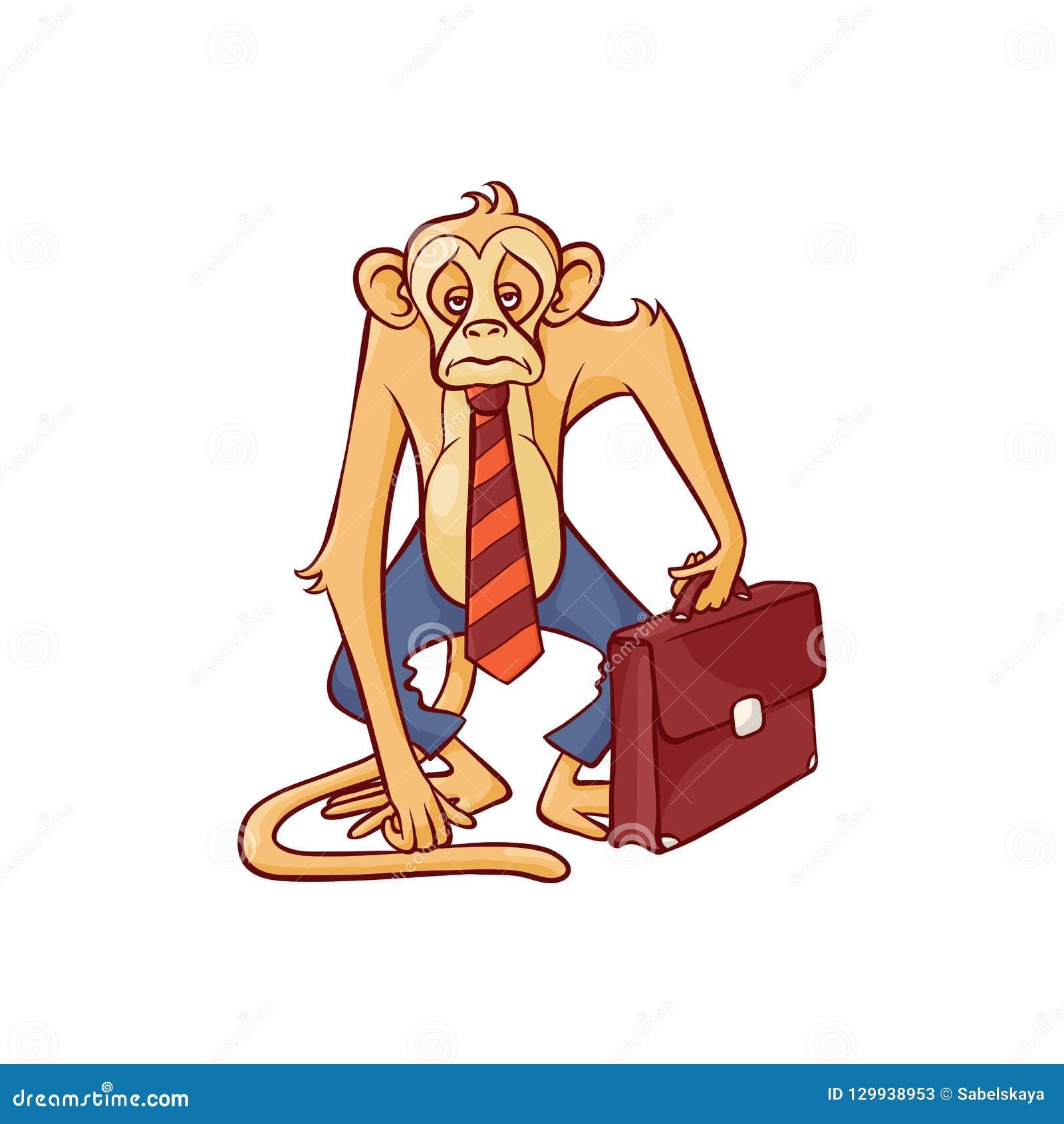 Mono cansado y agotado en la situación de los pantalones y del lazo del negocio con la cartera de cuero marrón y la mirada adelan