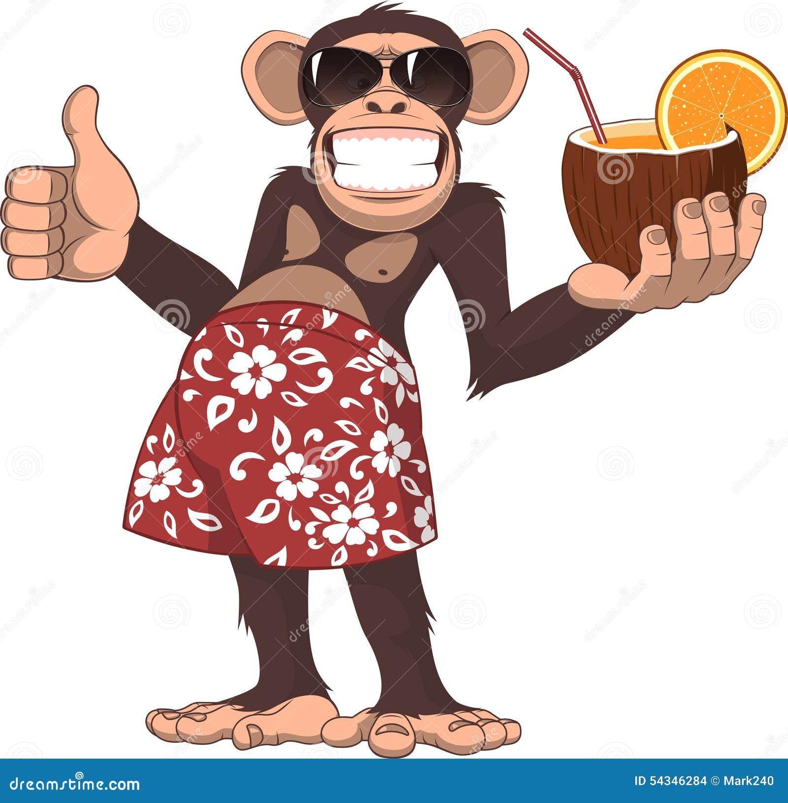mono con un cóctel ilustración del vector ilustración de