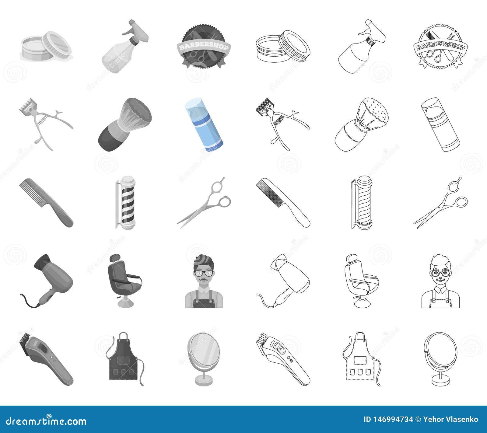 Mono frisersalong och utrustning, översiktssymboler i den fastställda samlingen för design Reng?ringsduk f?r materiel f?r frisyr-
