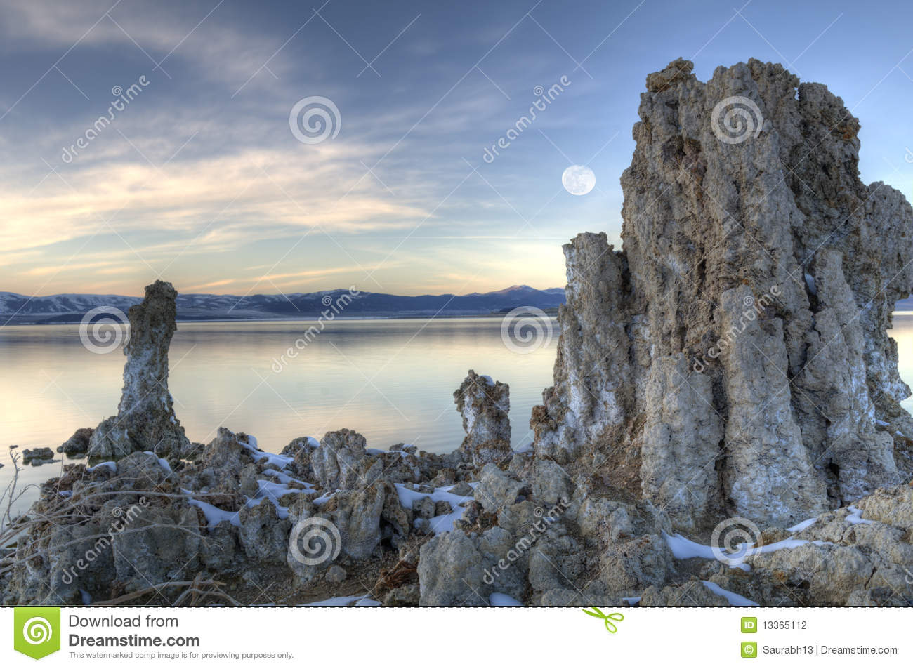 Mono Lake and the rising moon