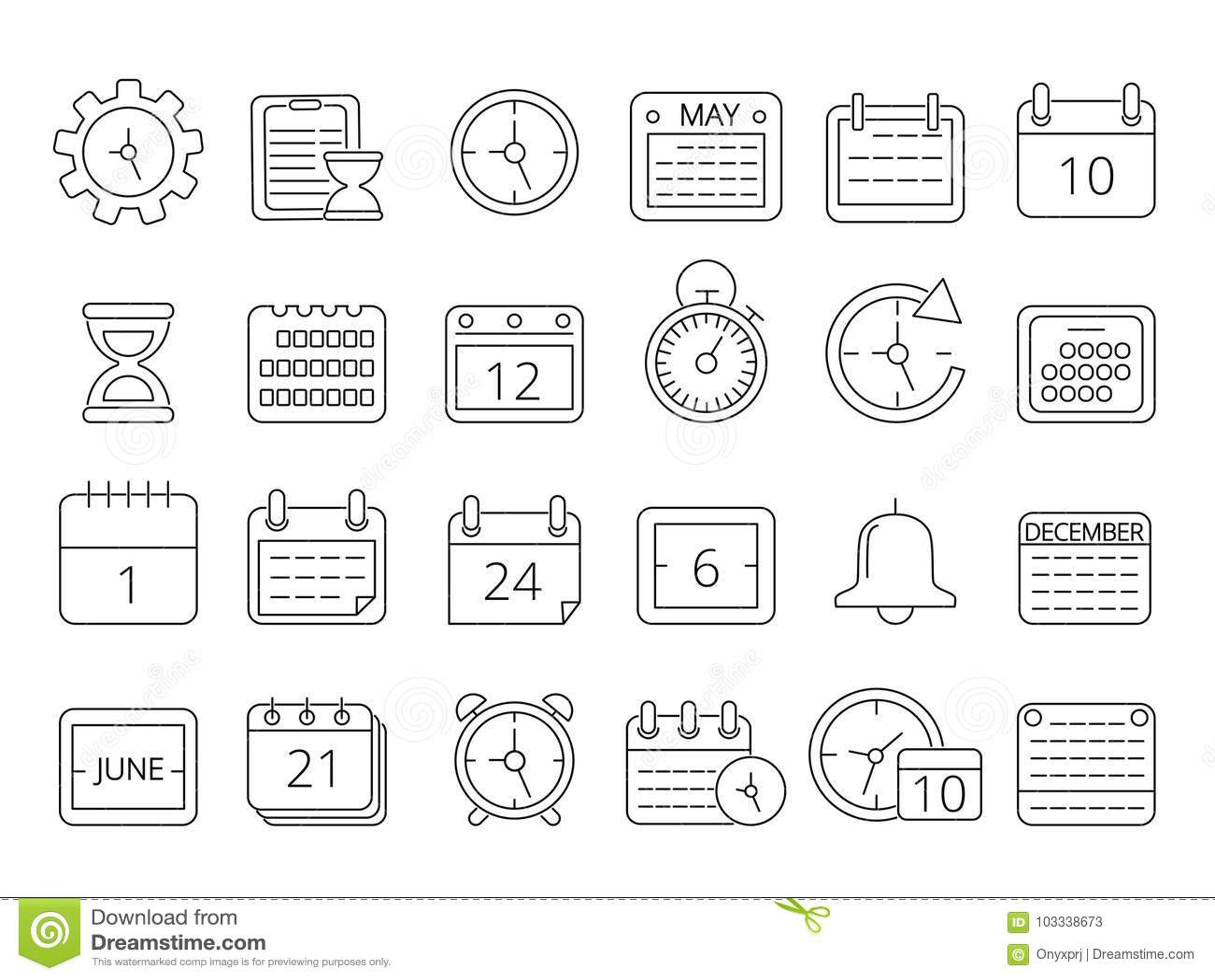 Mono Line Pictures Set Of Time Managements Symbols Stock Vector