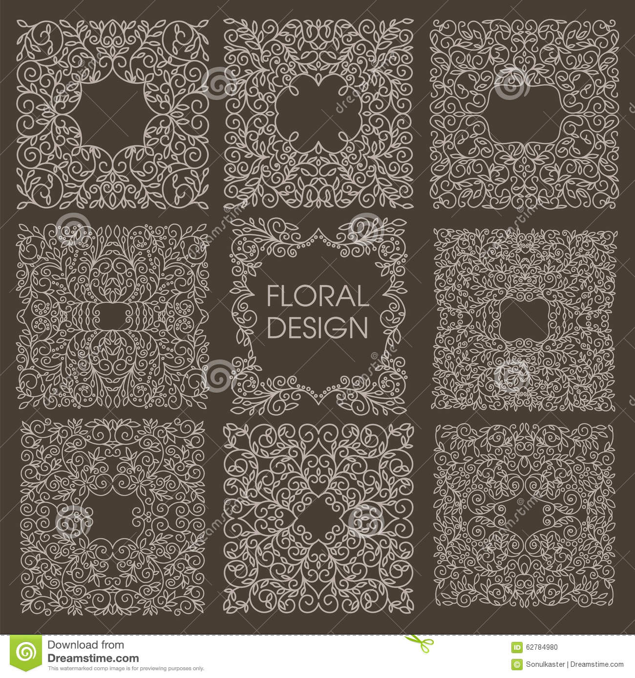 Mono line vintage floral frames stock vector image 62784980 for A style text decoration