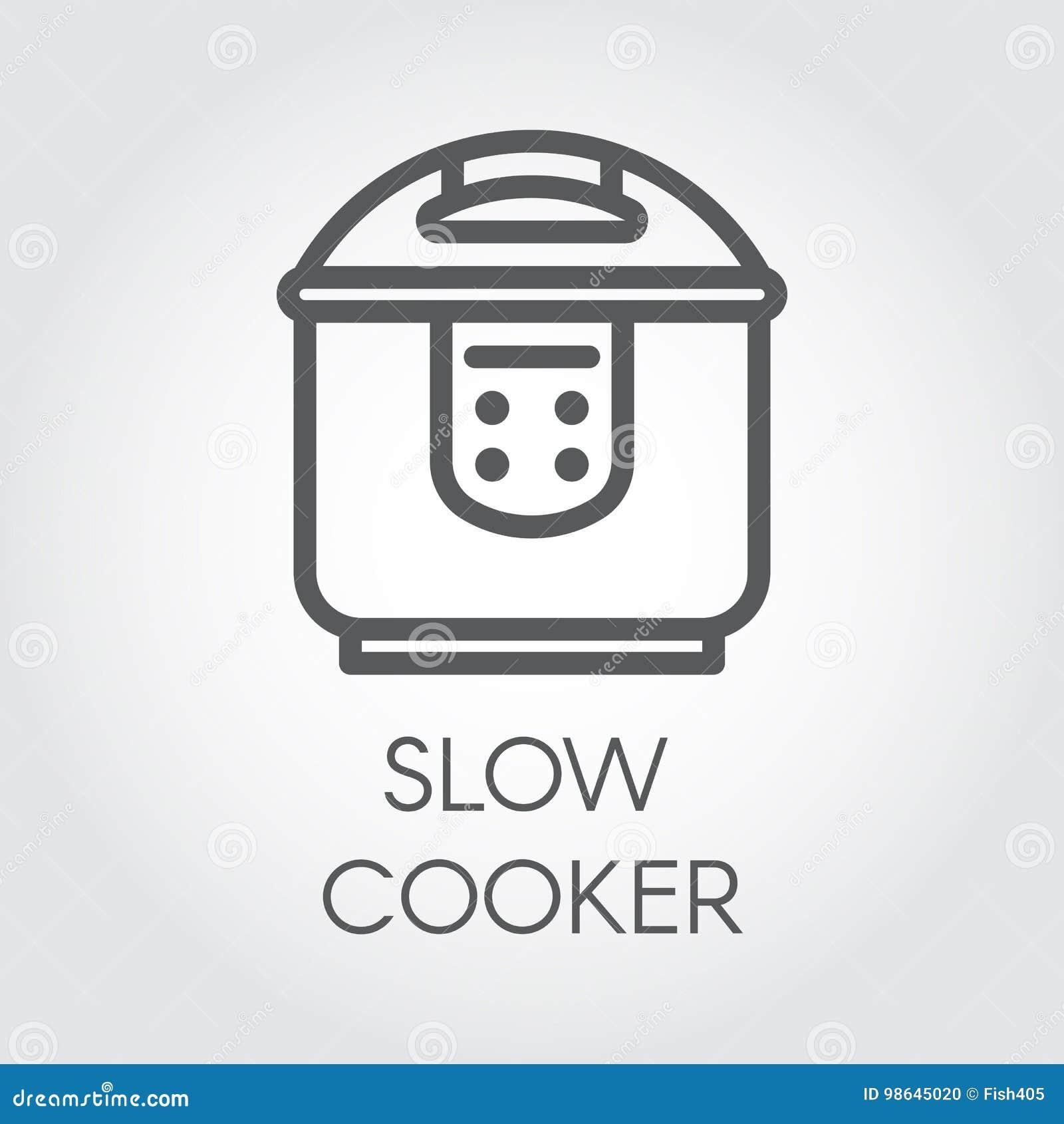 Mono linea icona del colpo del fornello lento Immagine grafica elettronica del profilo del vaso o del vapore del pulviscolo Etich