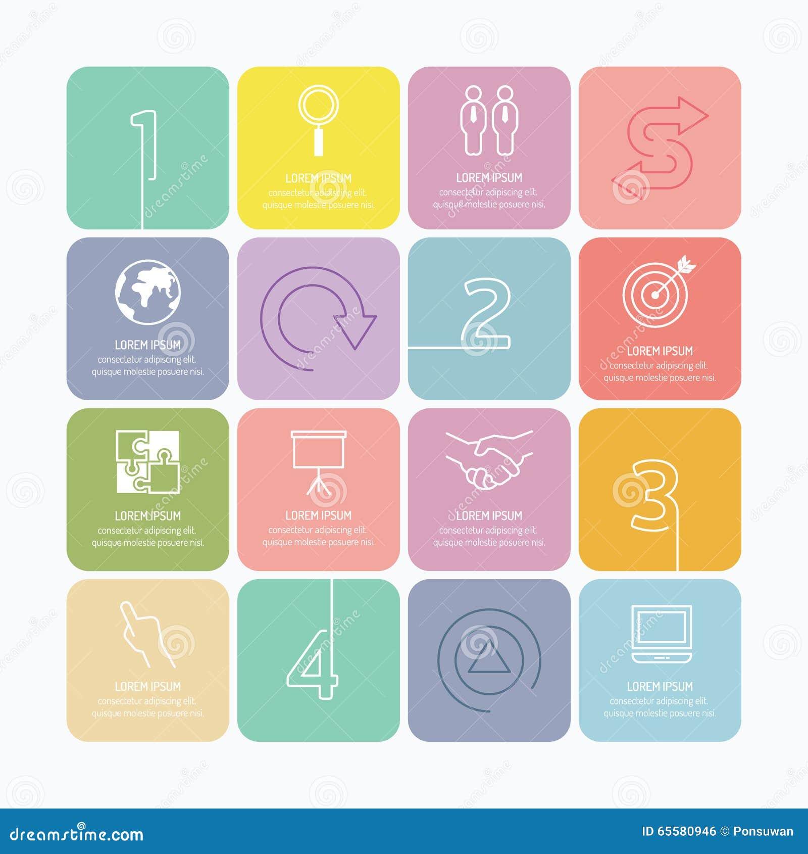 Mono linha das opções modernas do projeto do infographics com os vagabundos macios da cor
