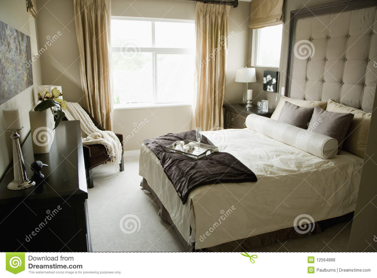 monochromatic bedroom royalty free stock photos image