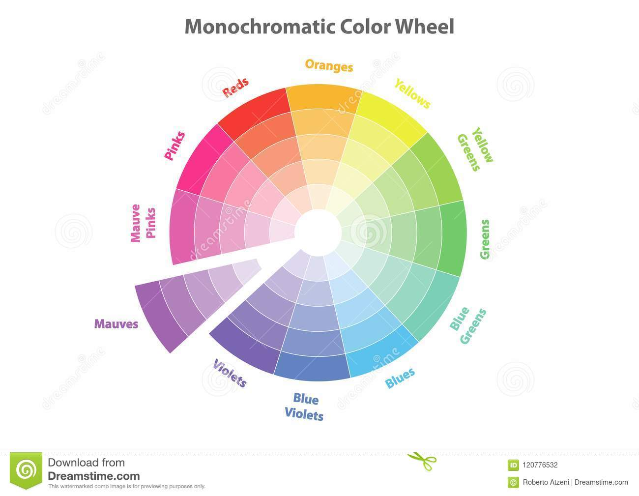 Monochromatic Color Wheel Color Scheme Theory Isolated Stock
