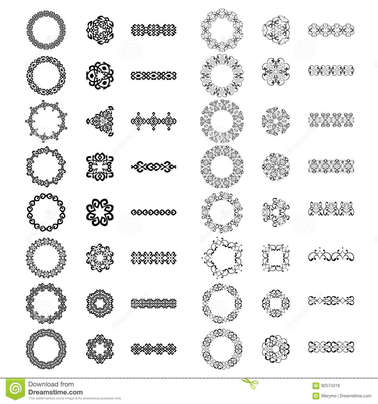 Monochromatic vintage signs, round frames, borders and dividers. Isolated on white. Vector illustration