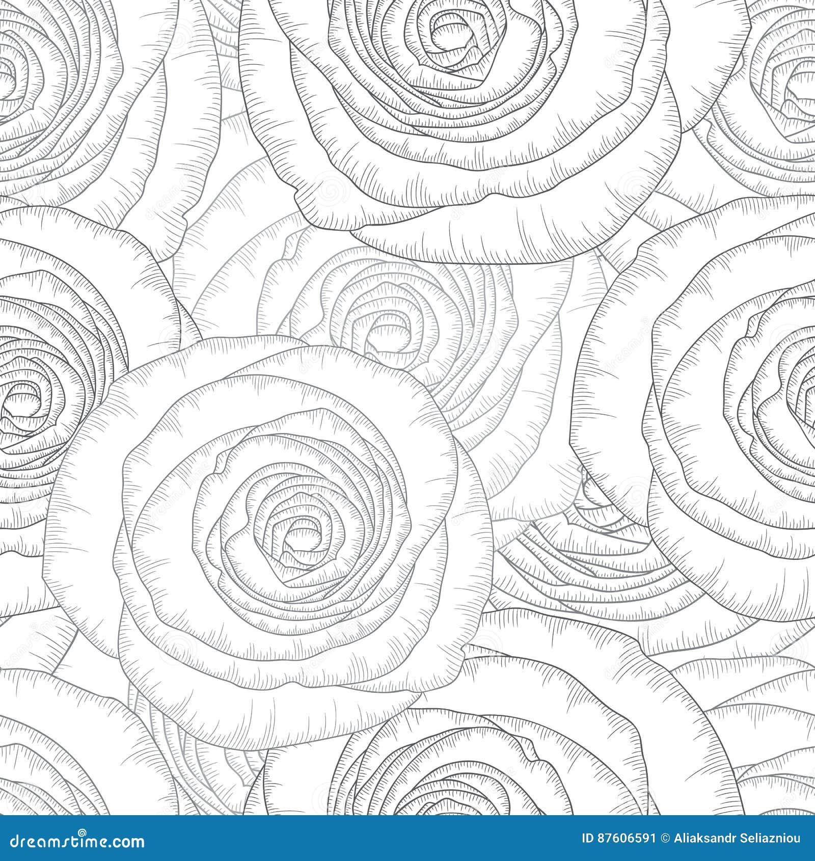 Monochromatycznego bezszwowego rysunku kwiecisty tło z kwiat różami