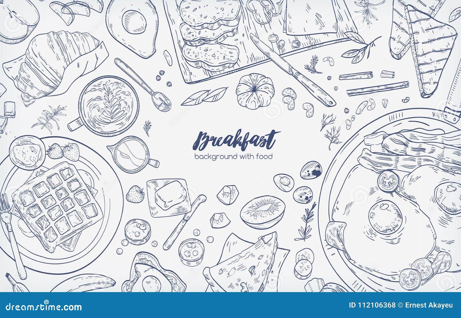 Monochromatyczny horyzontalny sztandar z różnorodnymi zdrowymi ranków karmowymi i śniadaniowymi posiłkami wręcza patroszonego z k