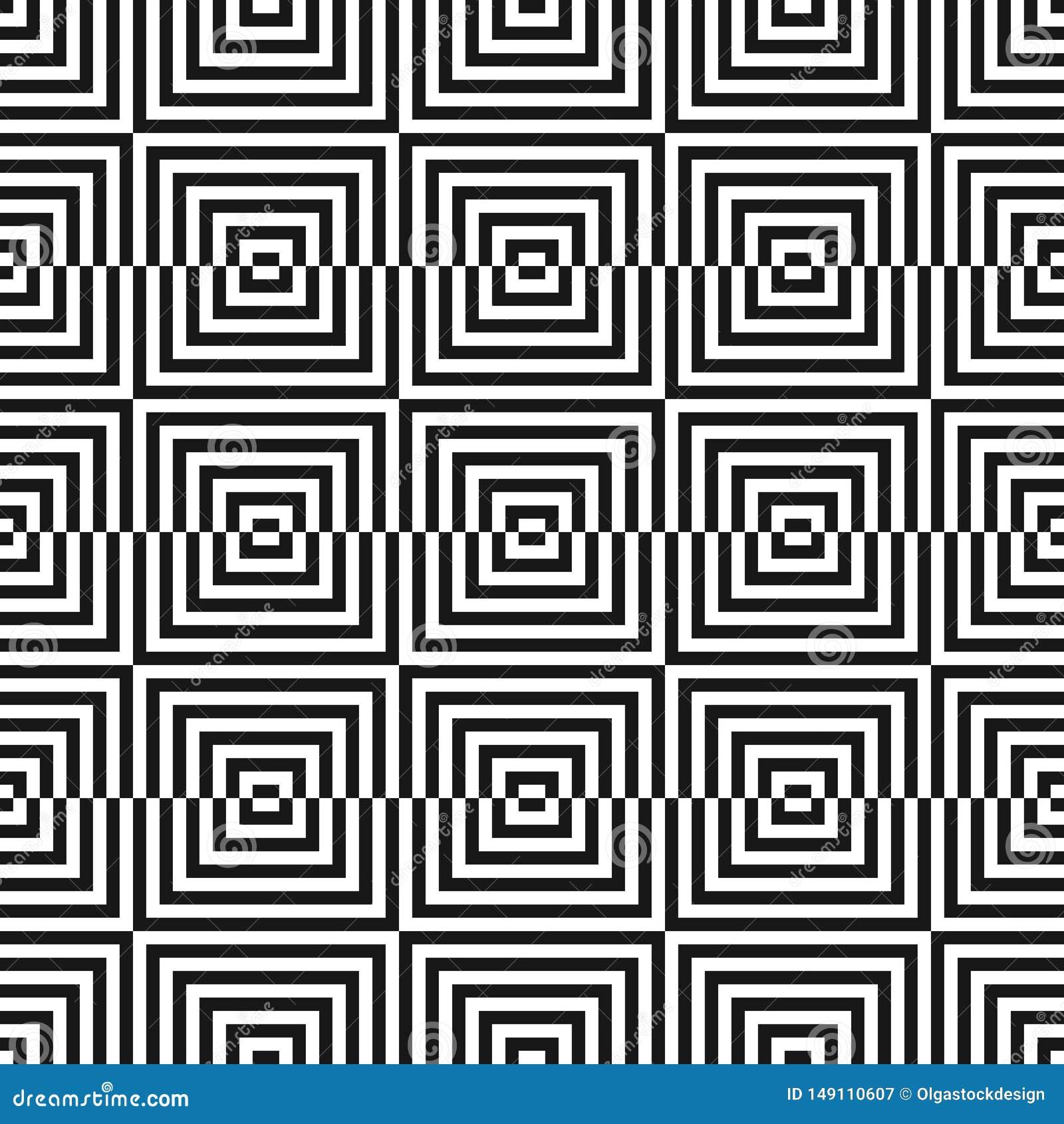 Monochrome геометрическая безшовная картина с небольшими квадратами, линиями Оптически искусство
