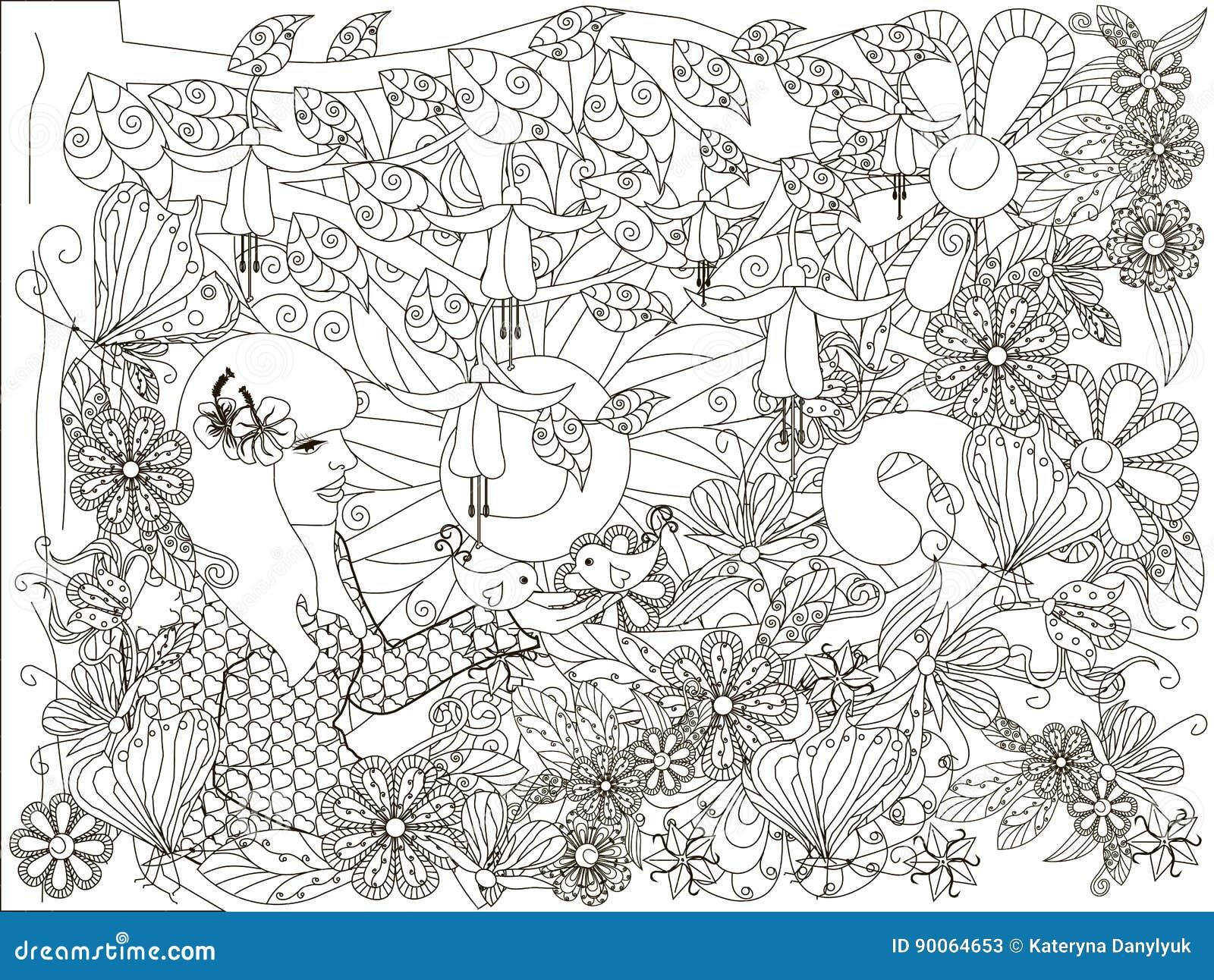 Monochrome девушка doodle нарисованная рукой с любящей птицей, предпосылкой цветков, ipsum Lorem