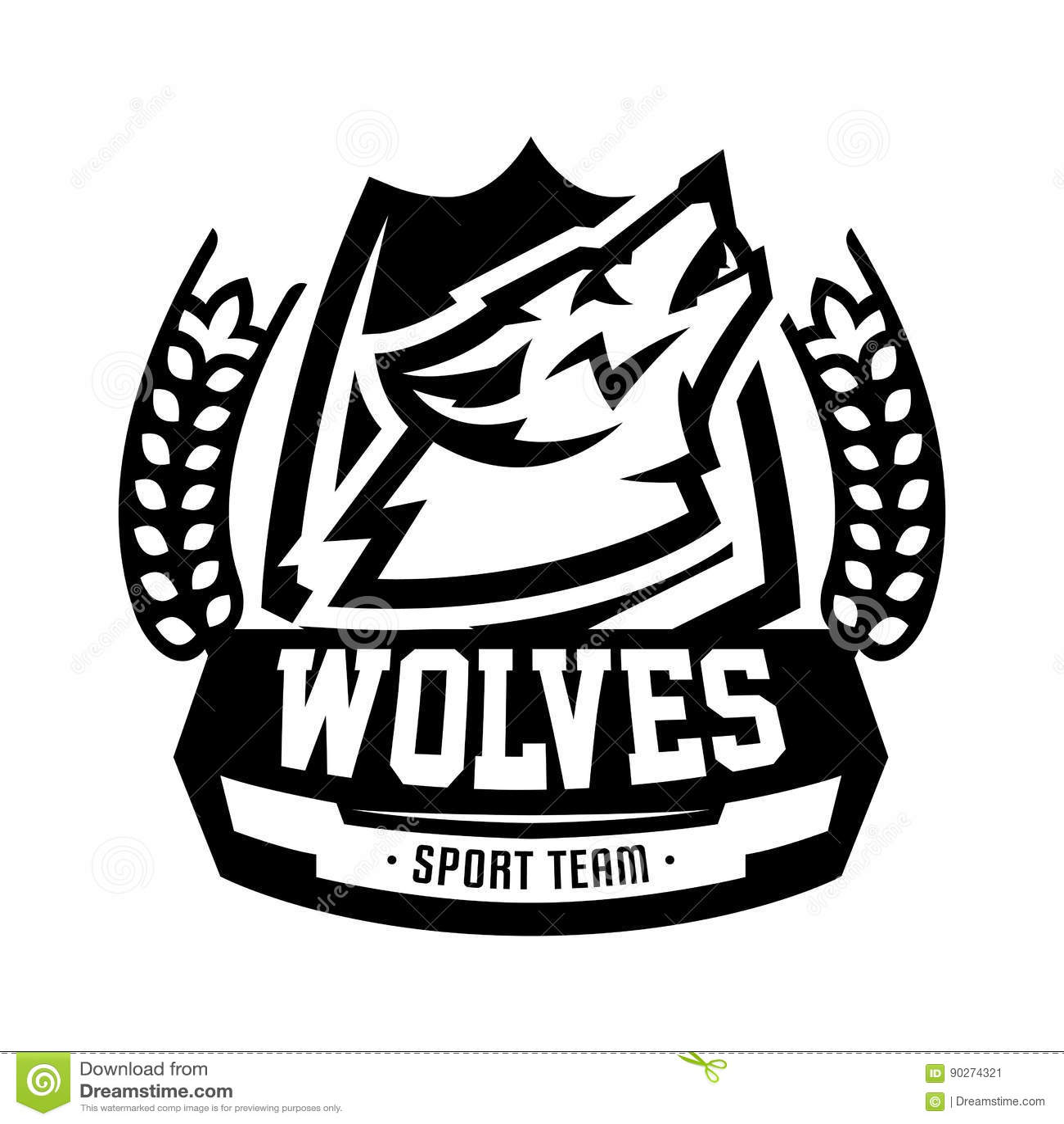 Monochrome логотип, эмблема, волк завывать