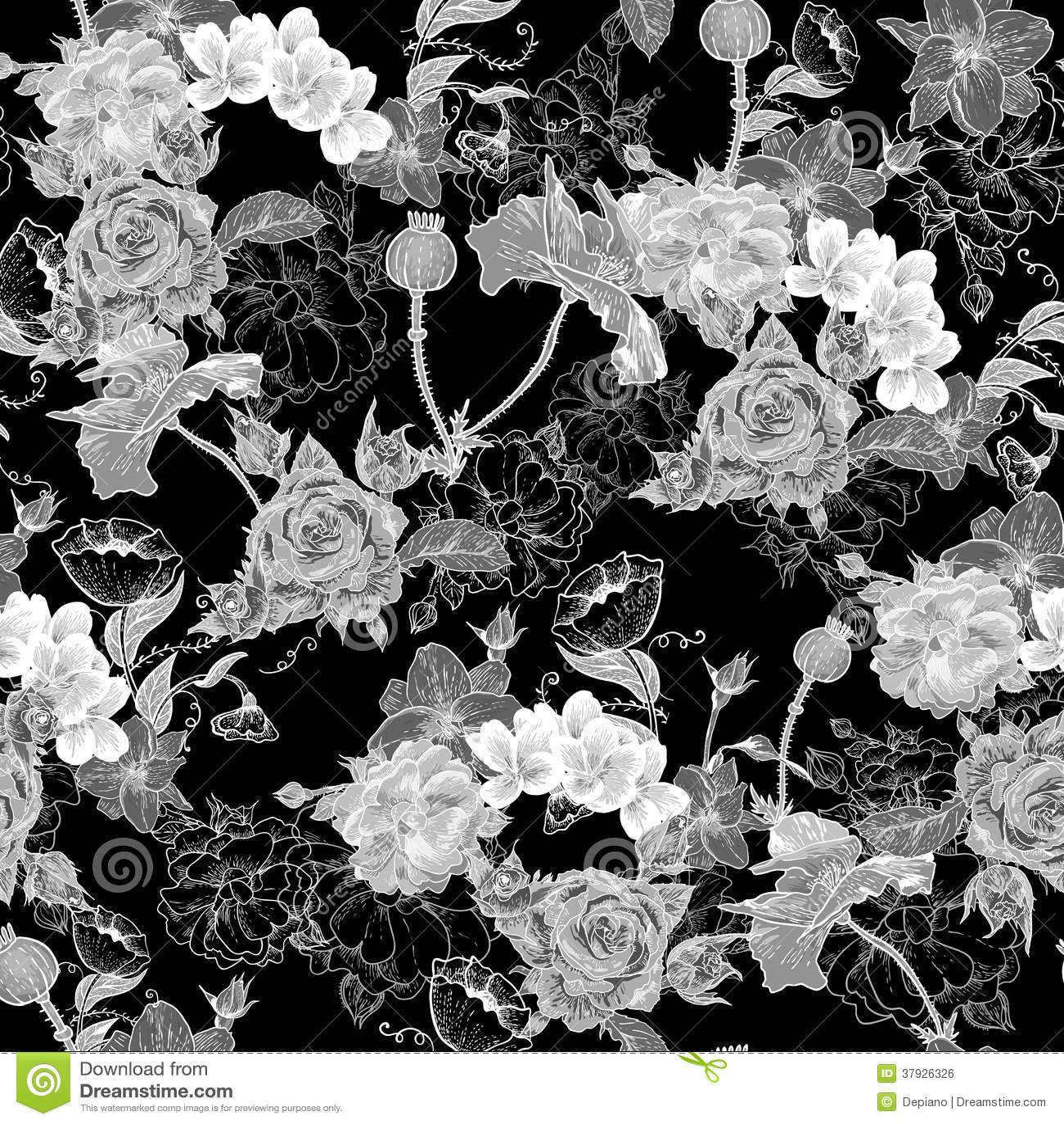 Monochrome предпосылка с цветками