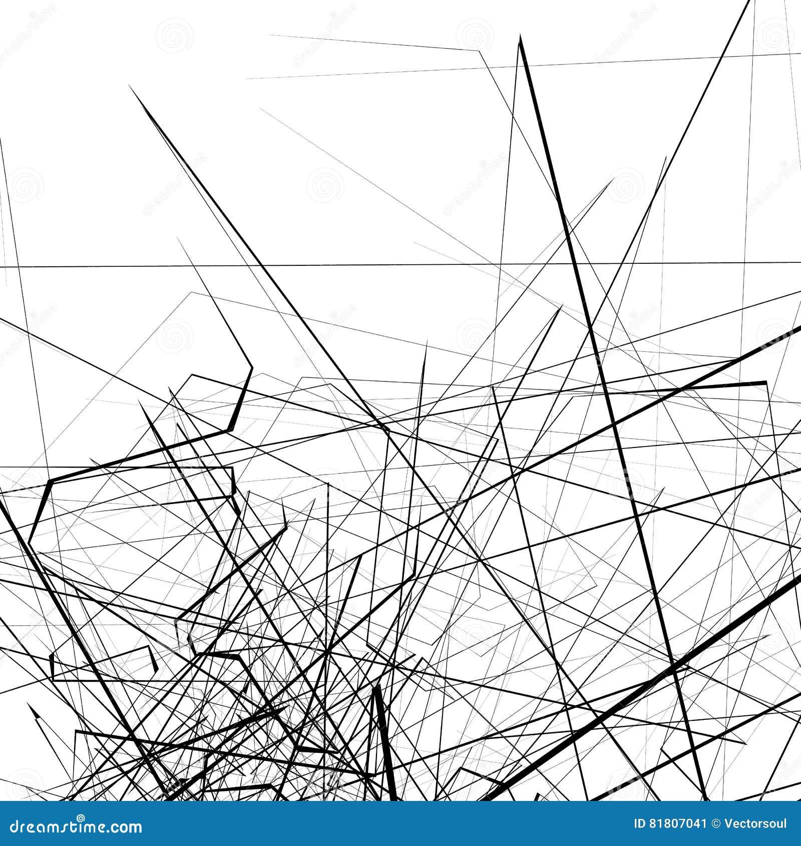 Monochrome случайные хаотические нервные линии резюмируют художническую картину