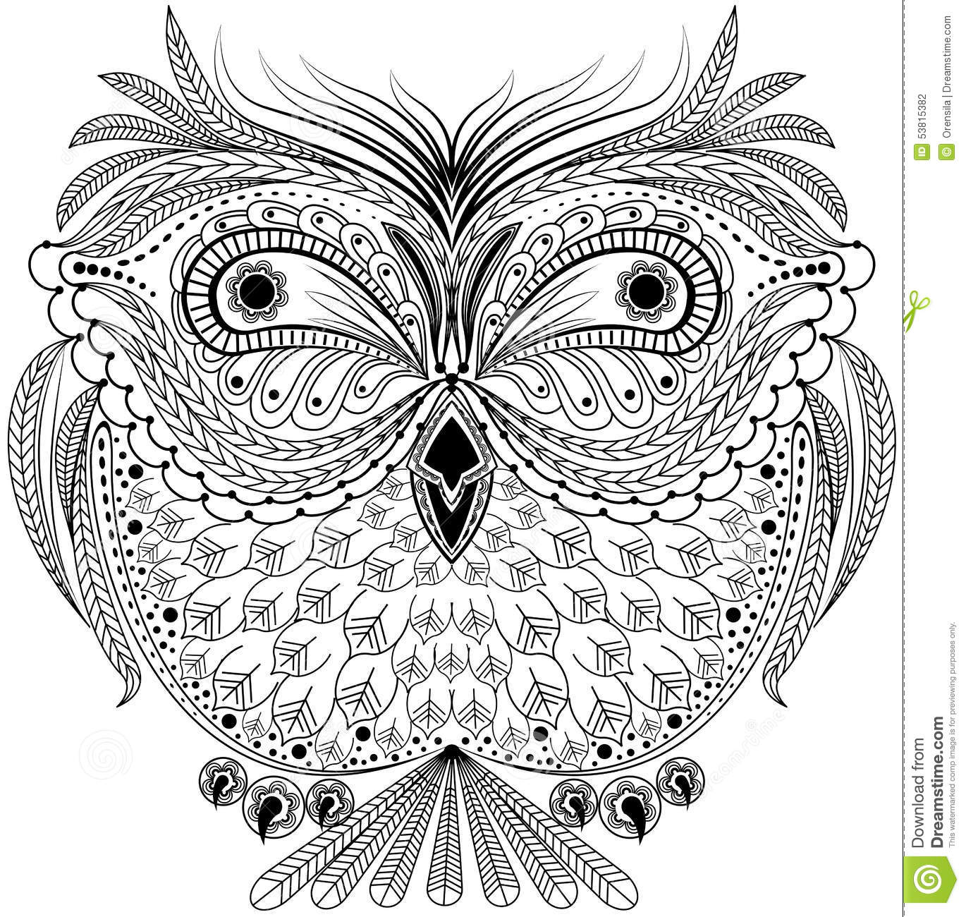 Monochrome Abstract Owl Stock Vector Illustration Of