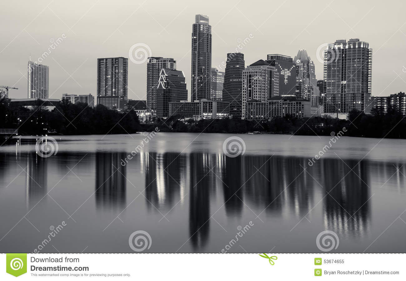 Monochrome Austin Texas Skyline Longhorns Logo In