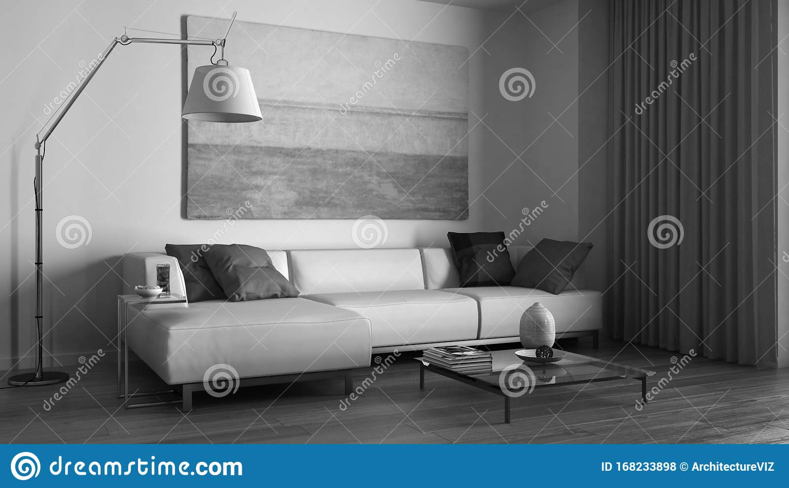 Monochrome Black White Interior Design Modern Minimalist Living Room With Sofa Floor Lamp Coffee Table And Curtains Stock Illustration Illustration Of Apartment Couch 168233898