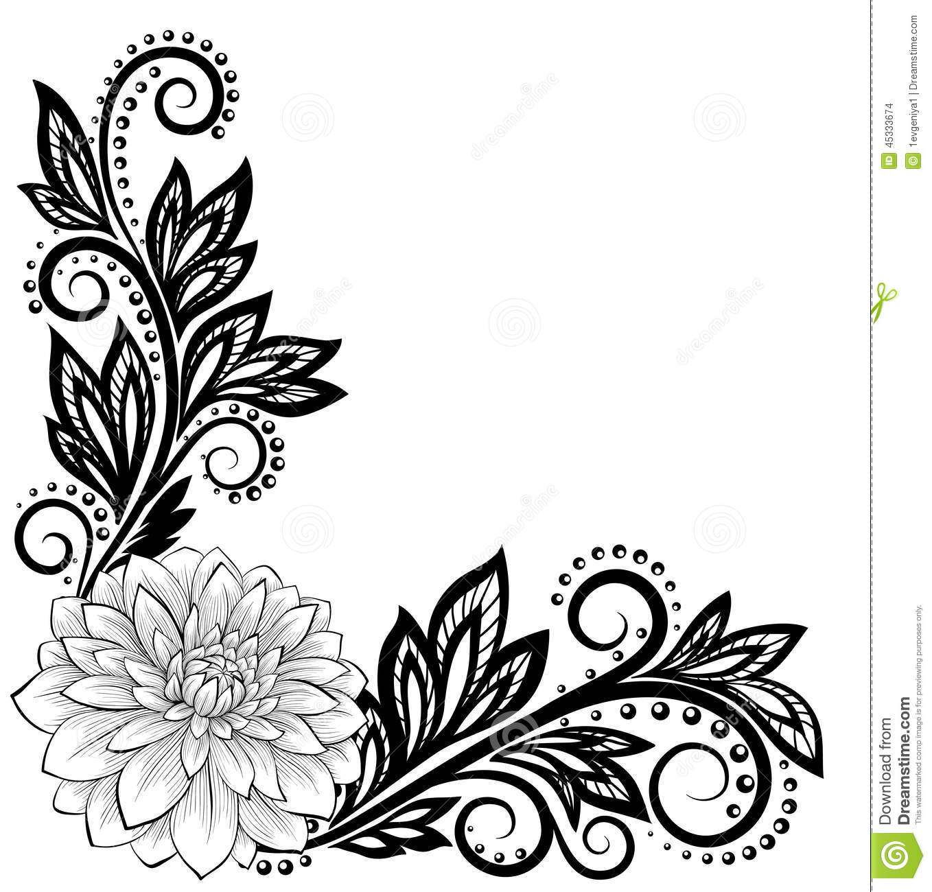 Monochrome Black And White Lace Flower In The Corner With Space For