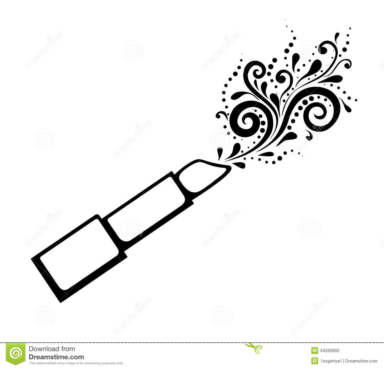 Monochrome black and white print of lipstick with stock for Lipstick coloring pages
