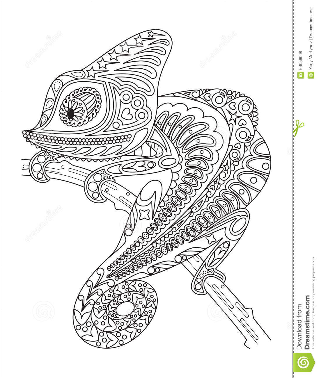 Monochrome Chameleon Coloring Page Black Over Stock Vector ...