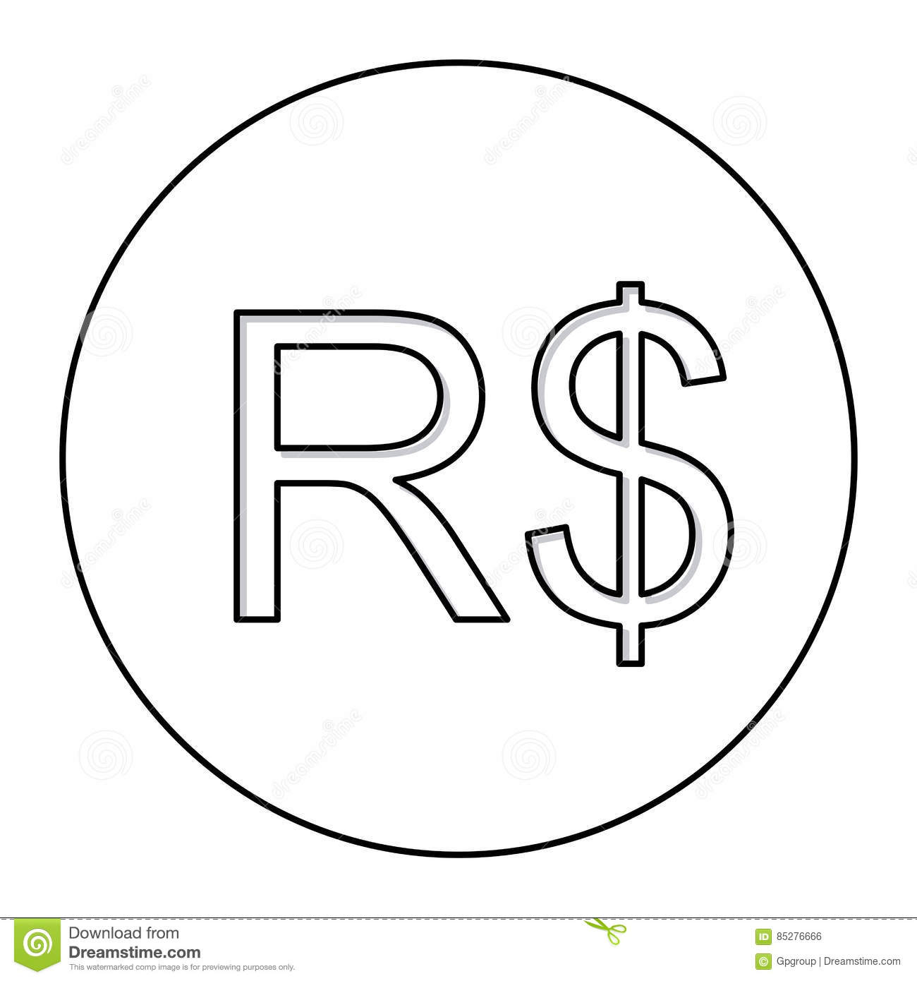 Monochrome contour with currency symbol of brazilian real in circle monochrome contour with currency symbol of brazilian real in circle biocorpaavc Image collections