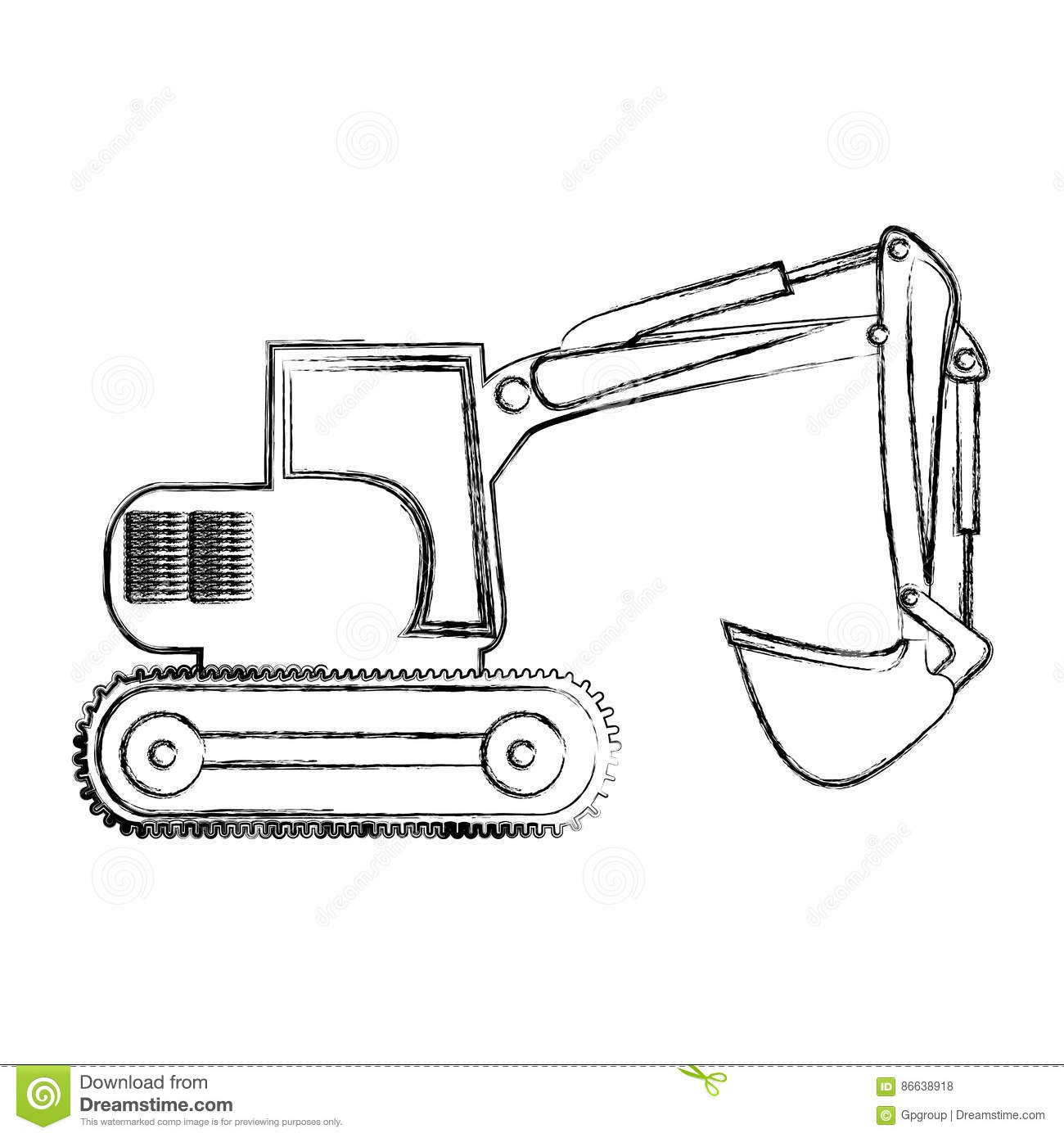 Monochrome Contour Hand Drawing Of Backhoe Stock Illustration ...